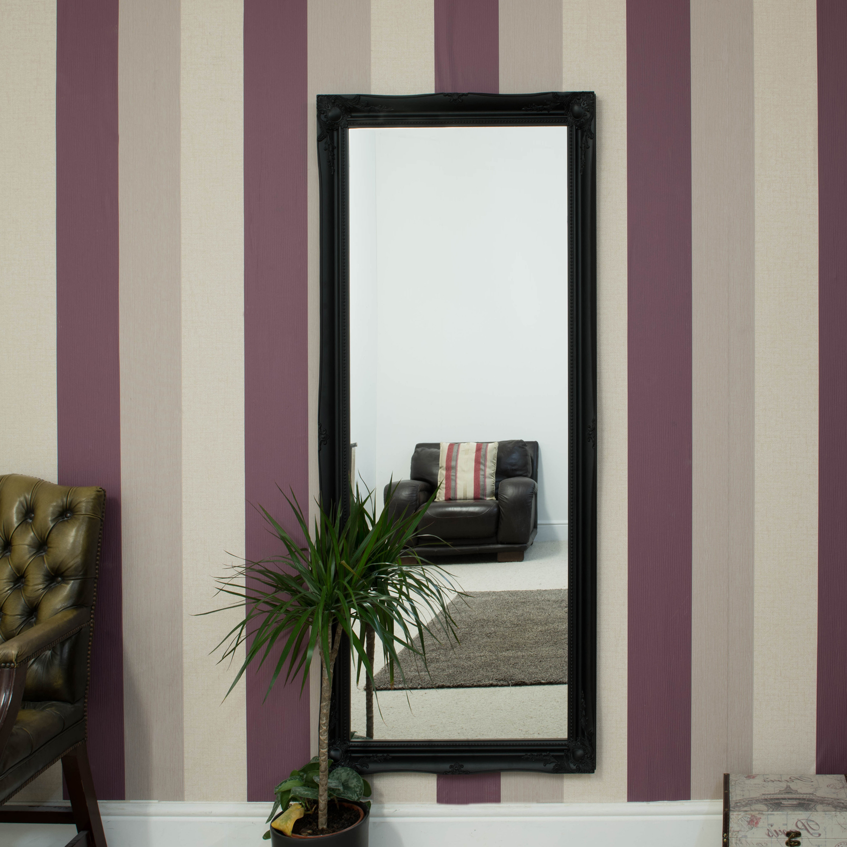 Famous Details About Large Black Shabby Chic Full Length Big Wall Mirror 5ft6 X 2ft6 165cm X 75cm Throughout Big Size Wall Mirrors (View 19 of 20)