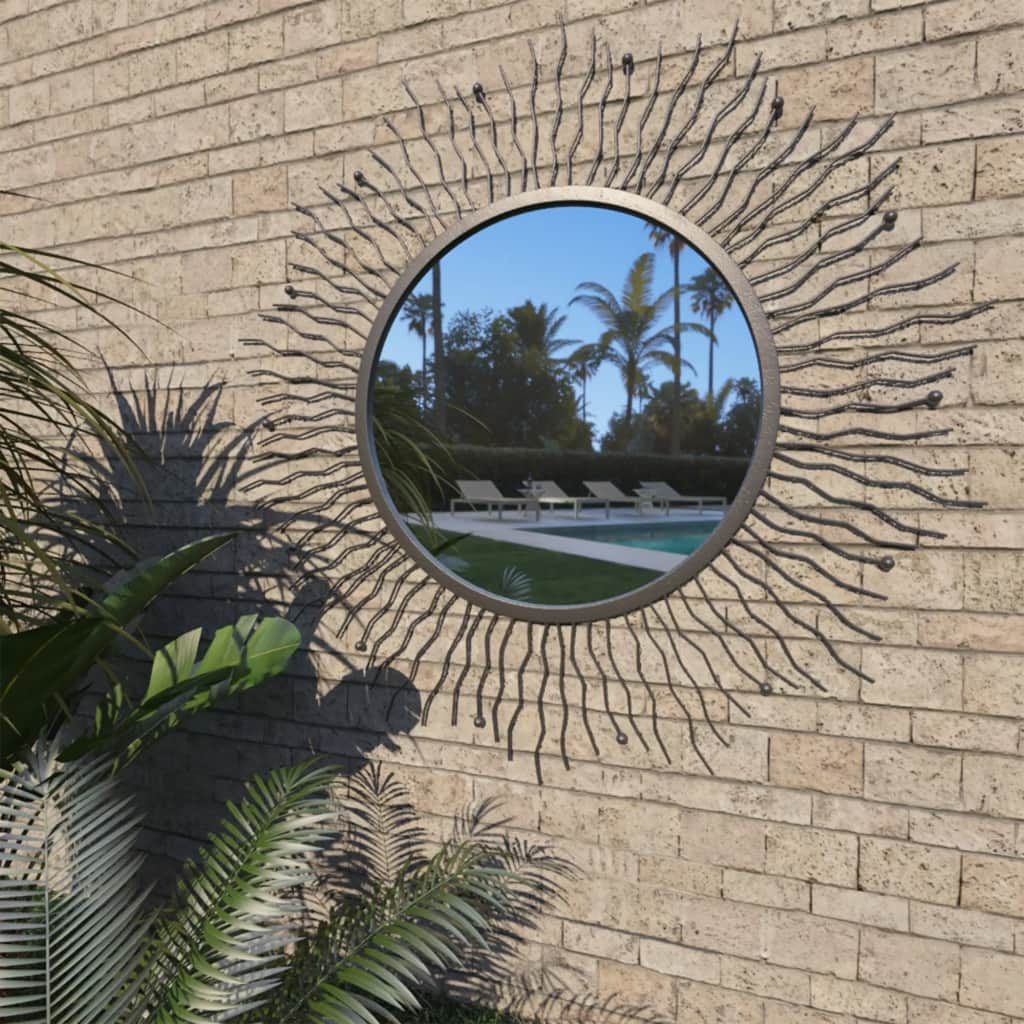 Famous Details About Outdoor Garden Wall Mirror Sunburst With Powder Coated Steel  Frame 60 Cm/80 Cm In Outdoor Garden Wall Mirrors (View 2 of 20)