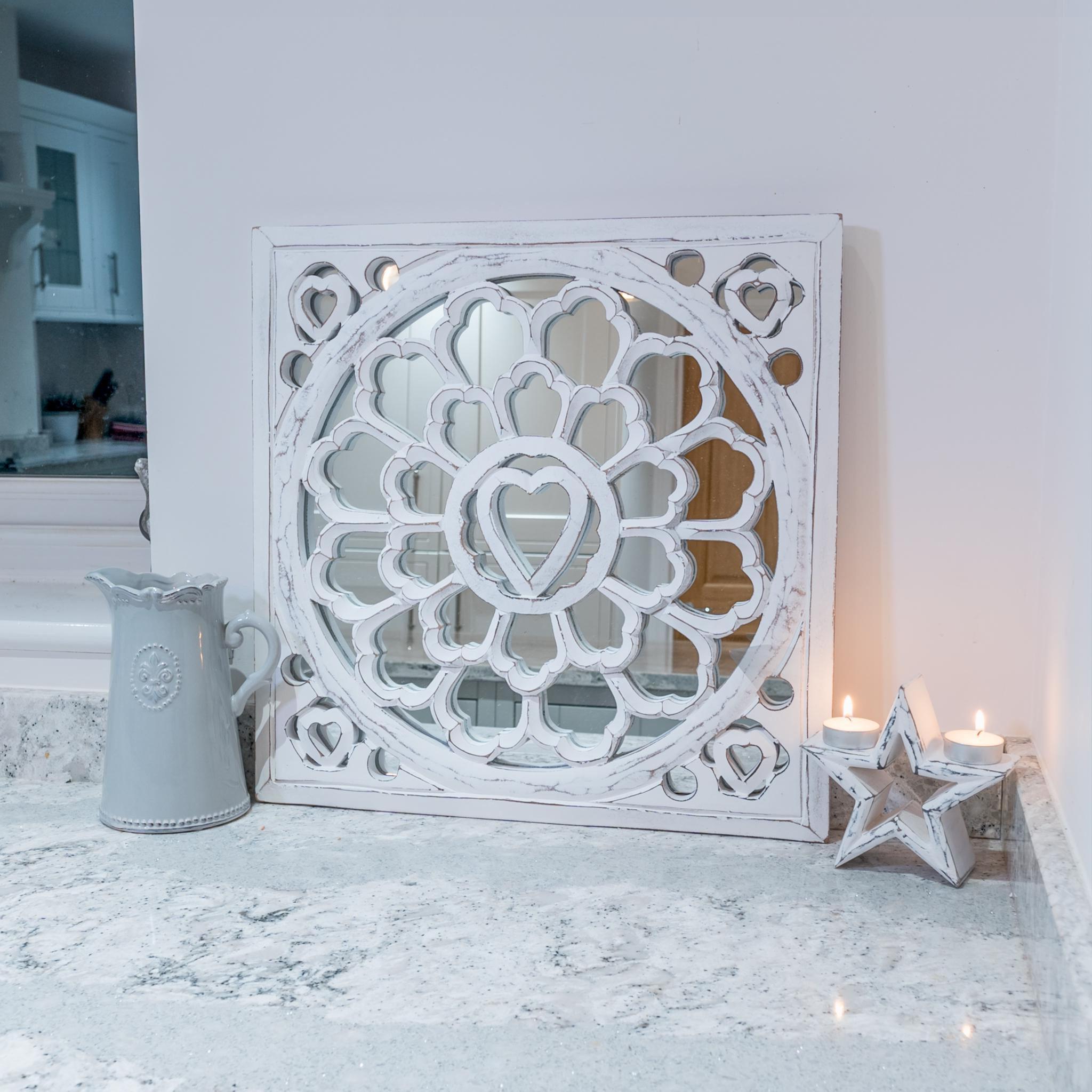 Famous Distressed White Wall Mirrors For Distressed White Wall Mirror Panel (View 8 of 20)