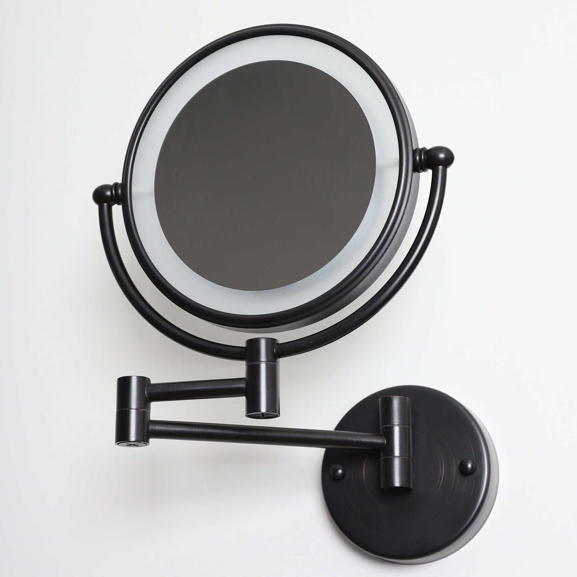 Famous Extendable Wall Mirrors With Regard To Lusso Wall Mount Cosmetic Mirror Led Brushed Matte Black (View 13 of 20)