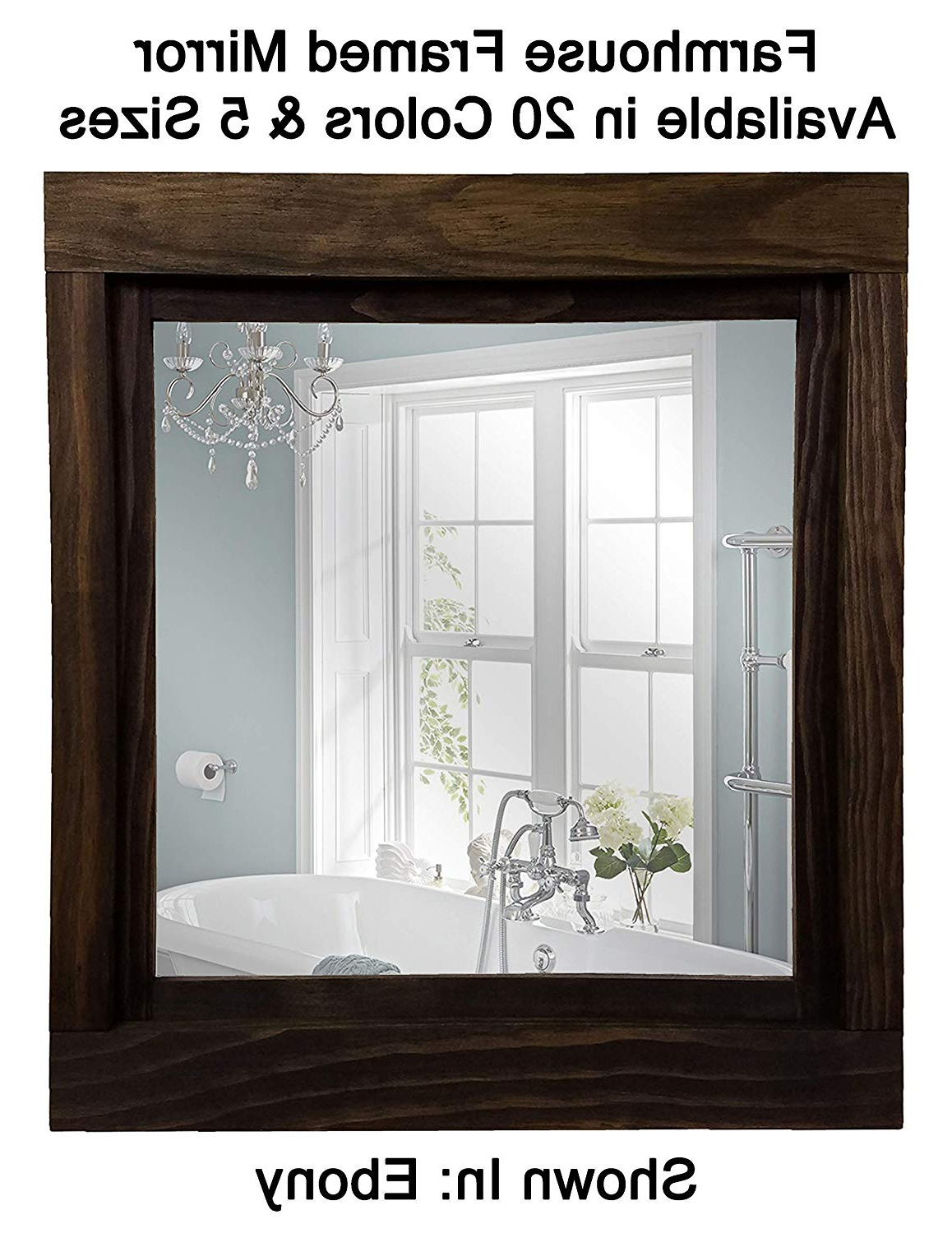 Famous Farmhouse Large Framed Mirror Available In 5 Sizes And 20 Colors: Shown In Ebony – Large Wall Mirror – Bathroom Mirror – Rustic Wall Decor – Within Large Framed Wall Mirrors (View 18 of 20)