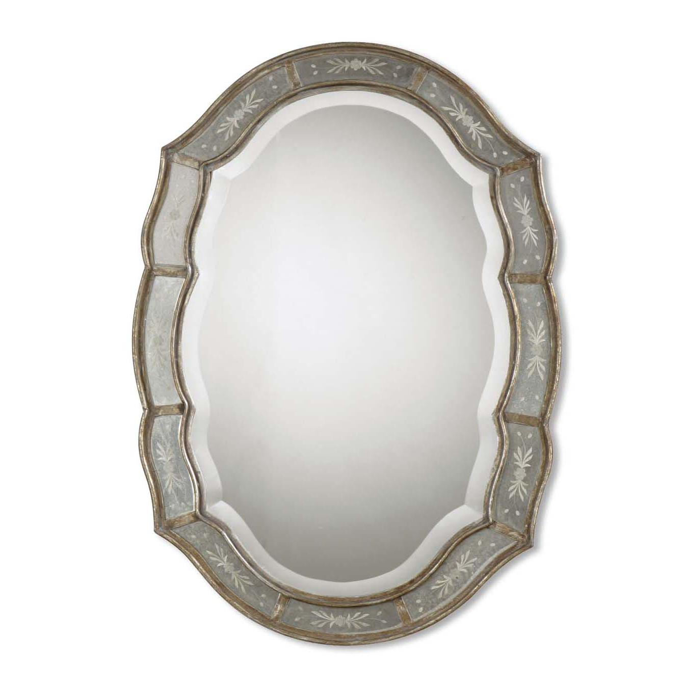 Famous Fifi Contemporary Arch Wall Mirrors Regarding Uttermost 'fifi' Etched Antique Gold Mirror (View 6 of 20)