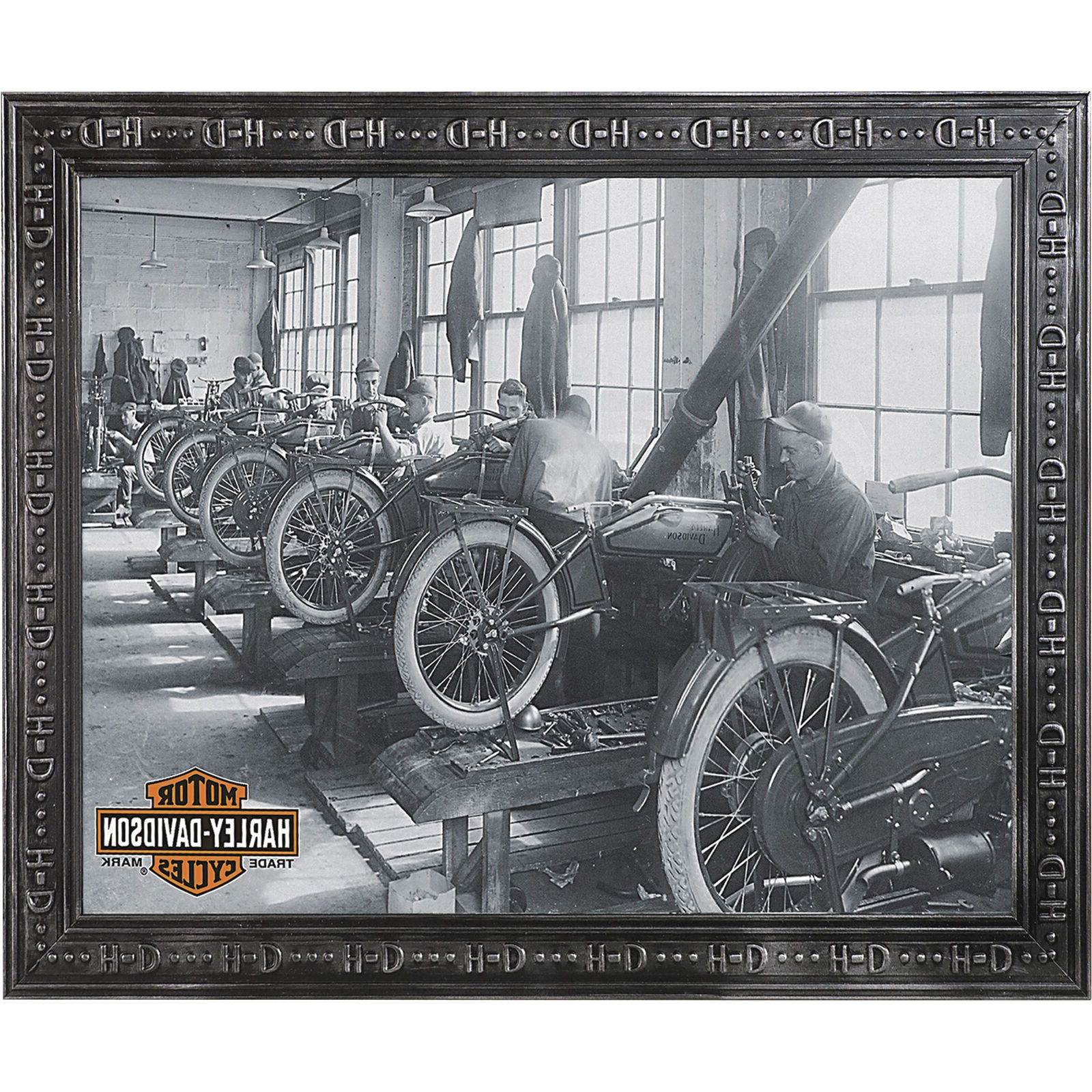 Famous Harley Davidson Nostalgic Retro Factory Shop Scene Framed Wall Mirror Home Décor Intended For Harley Davidson Wall Mirrors (View 6 of 20)