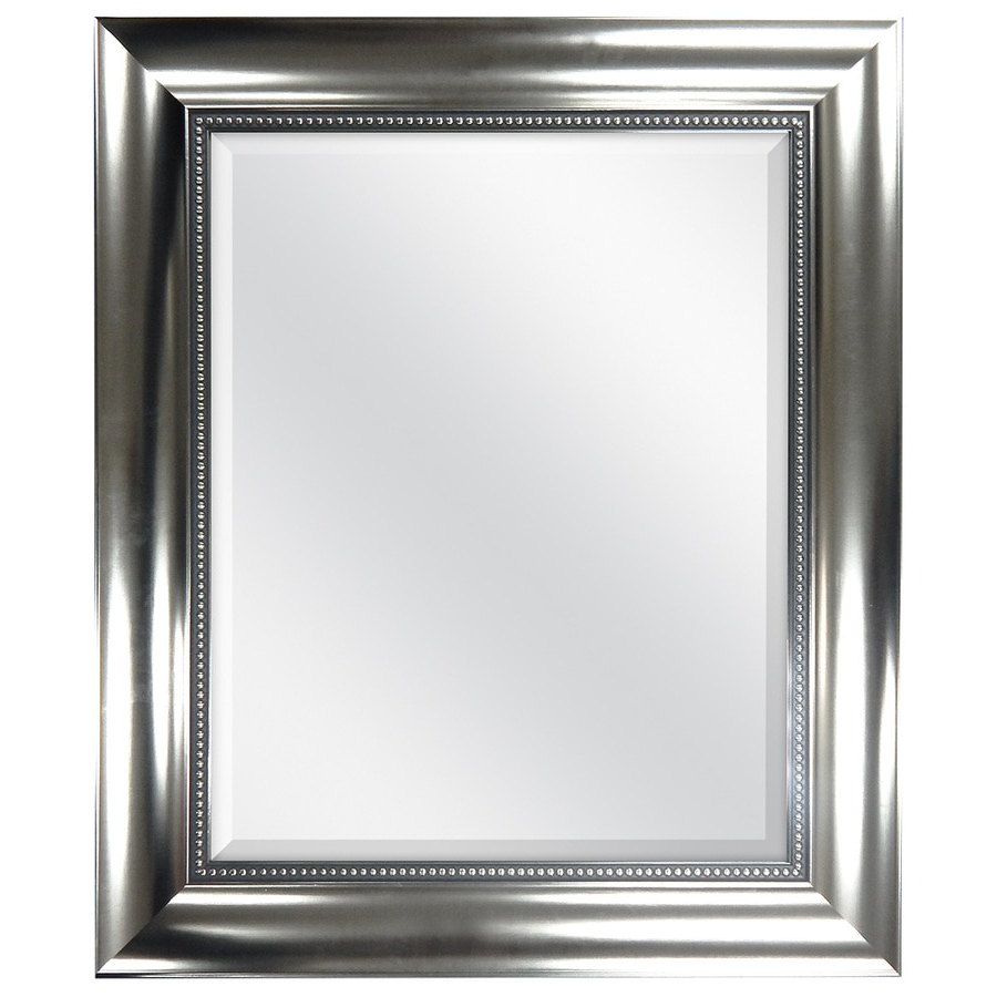 Famous Hogge Modern Brushed Nickel Large Frame Wall Mirrors Regarding Suddenly Brushed Nickel Wall Mirror Loree Fini # (View 18 of 20)