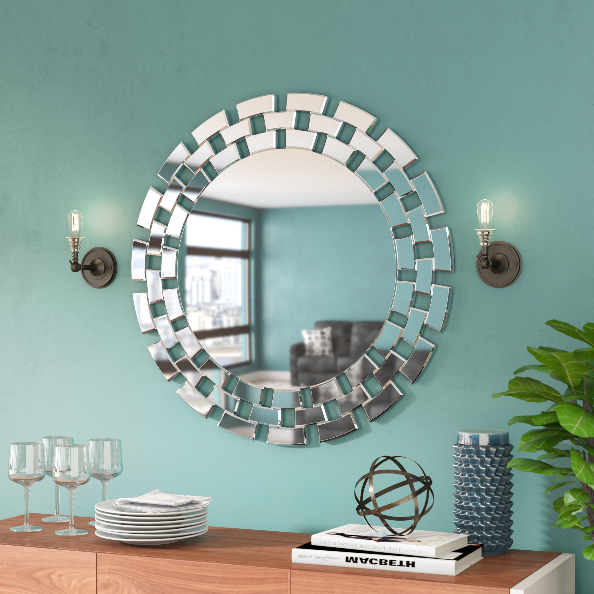 Famous Hussain Tile Accent Wall Mirrors Within Round Glass Wall Accent Mirror (View 18 of 20)