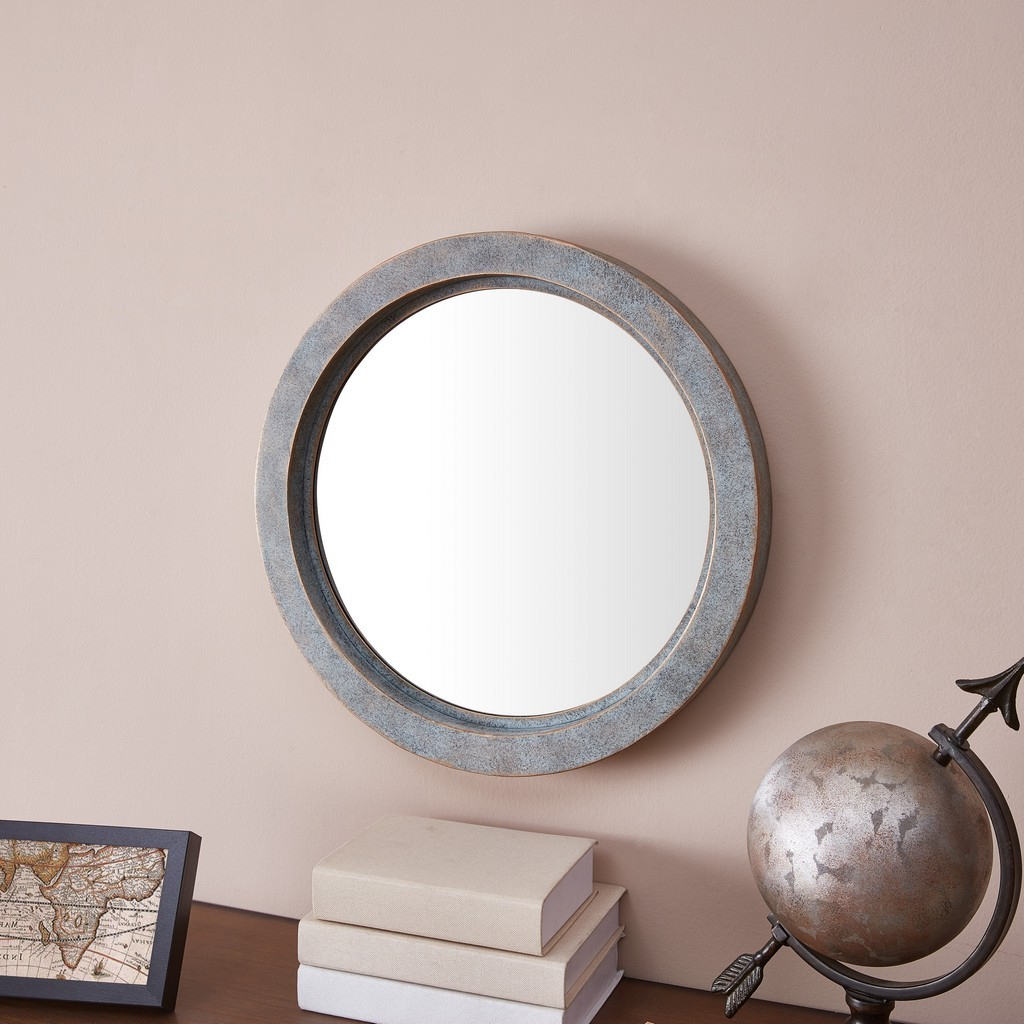 Famous Industrial Modern & Contemporary Wall Mirrors With Modern Industrial Floating Round 20 Inch Wall Mirror With Antiqued Copper  Metal Frame – Contemporary Framed Hanging Mirror (View 6 of 20)