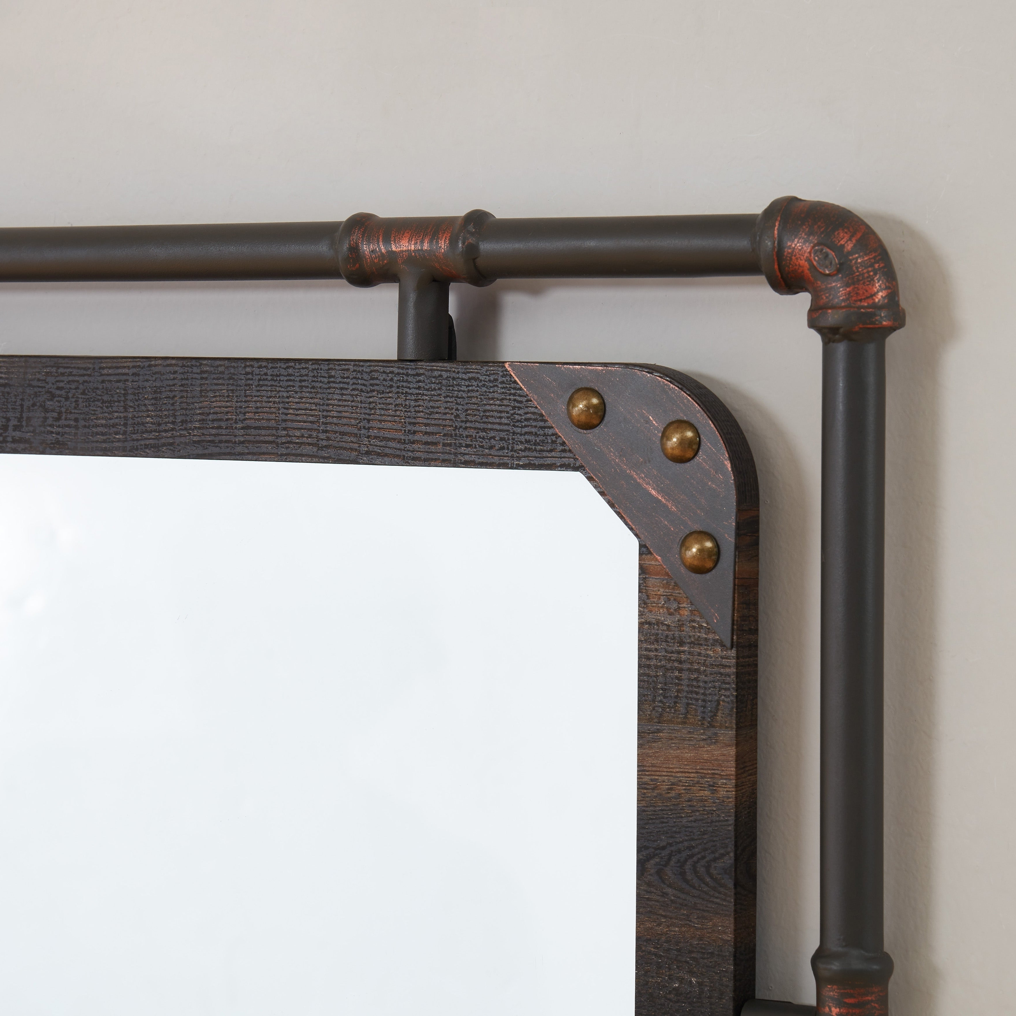 Famous Industrial Wall Mirrors With Furniture Of America Revo Industrial Distressed Wall Mirror (View 7 of 20)