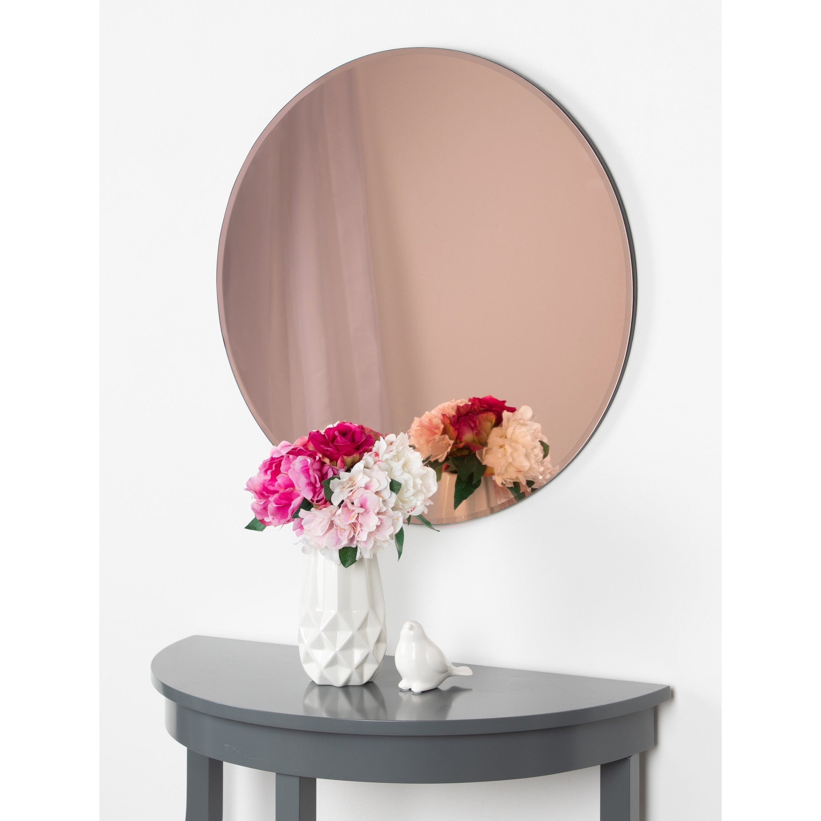 "Famous Kate And Laurel Azalea Frameless Round Wall Mirror – 26"" Diameter Throughout Frameless Round Wall Mirrors (View 8 of 20)"