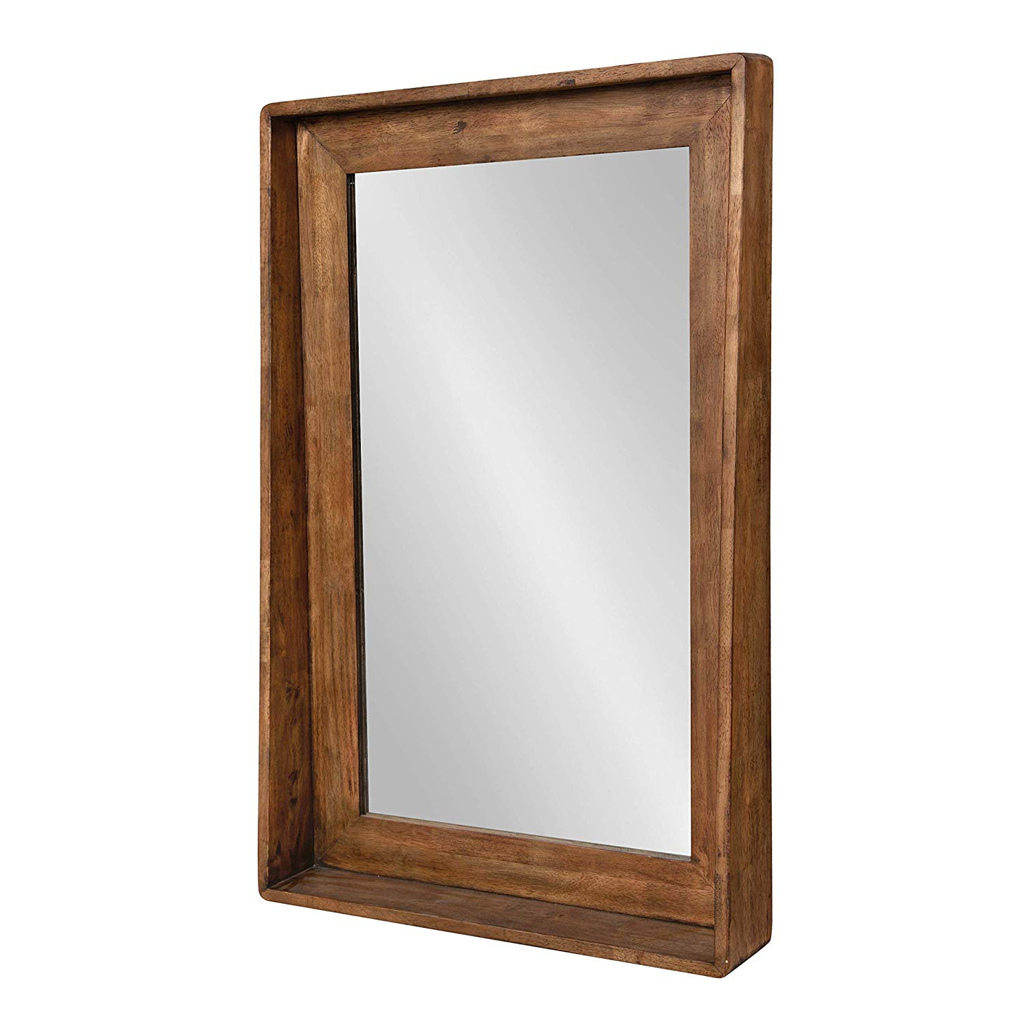 Famous Kate And Laurel Basking Vertical Wood Wall Mirror With Shelf, Rustic  Caramel Finish, 24 X 36 Within Wood Wall Mirrors (View 3 of 20)