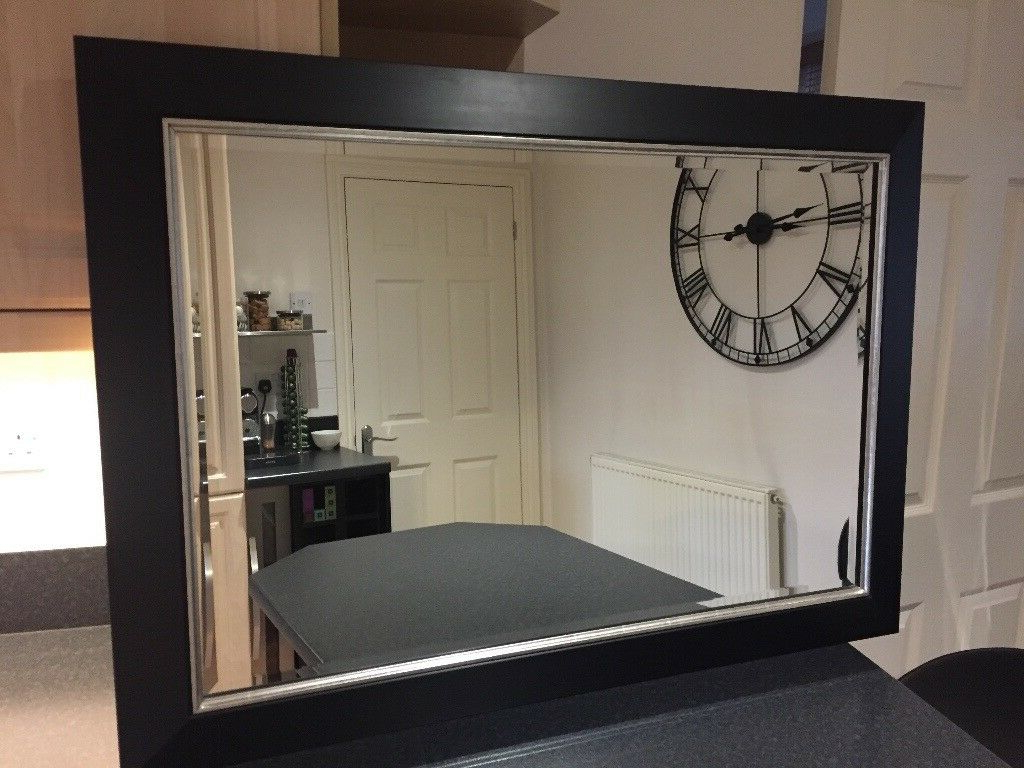 "Famous Large Black Wall Mirrors In Large Black Framed Wall Mirror 41""x 29"" (View 7 of 20)"