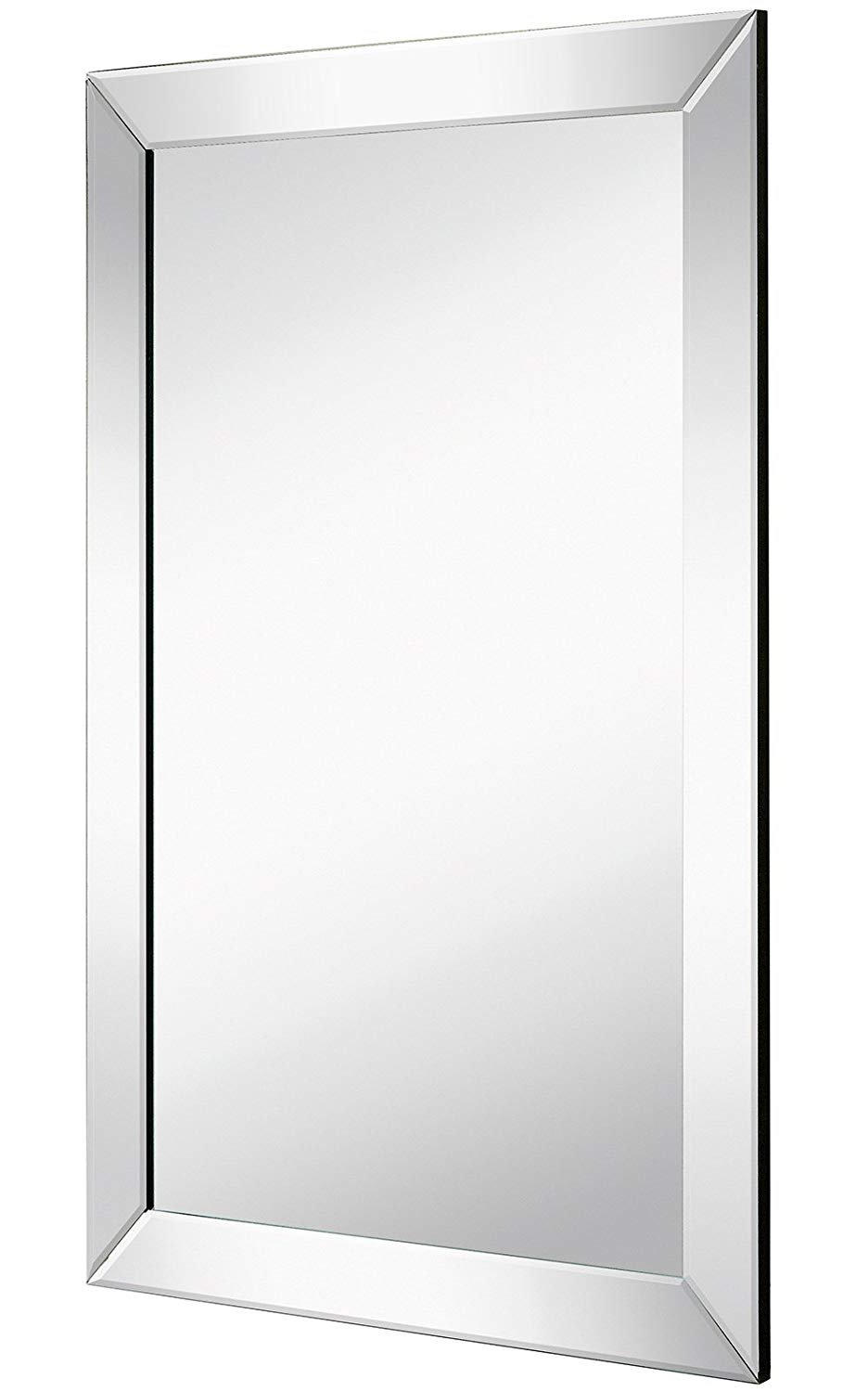 Famous Large Flat Framed Wall Mirror With 2 Inch Edge Beveled Mirror Frame With Regard To Flat Wall Mirrors (View 15 of 20)
