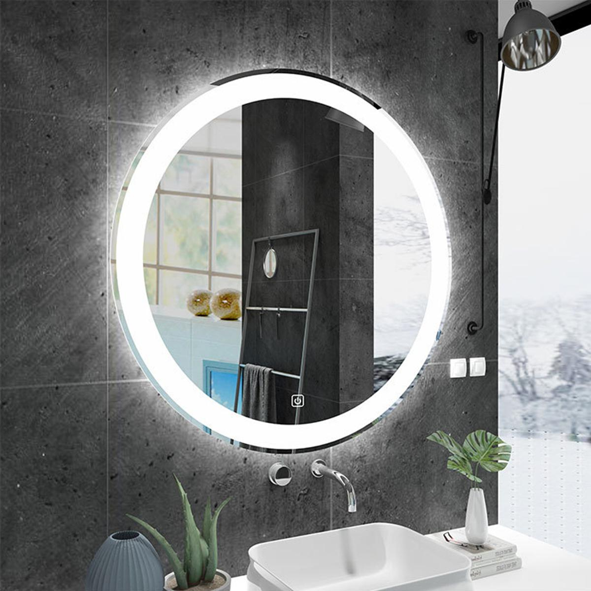 Famous Large Lighted Bathroom Wall Mirrors With 60cm Large Round Bathroom Wall Mount Mirror Cabinet Led Illuminated Anti Fogging (View 15 of 20)
