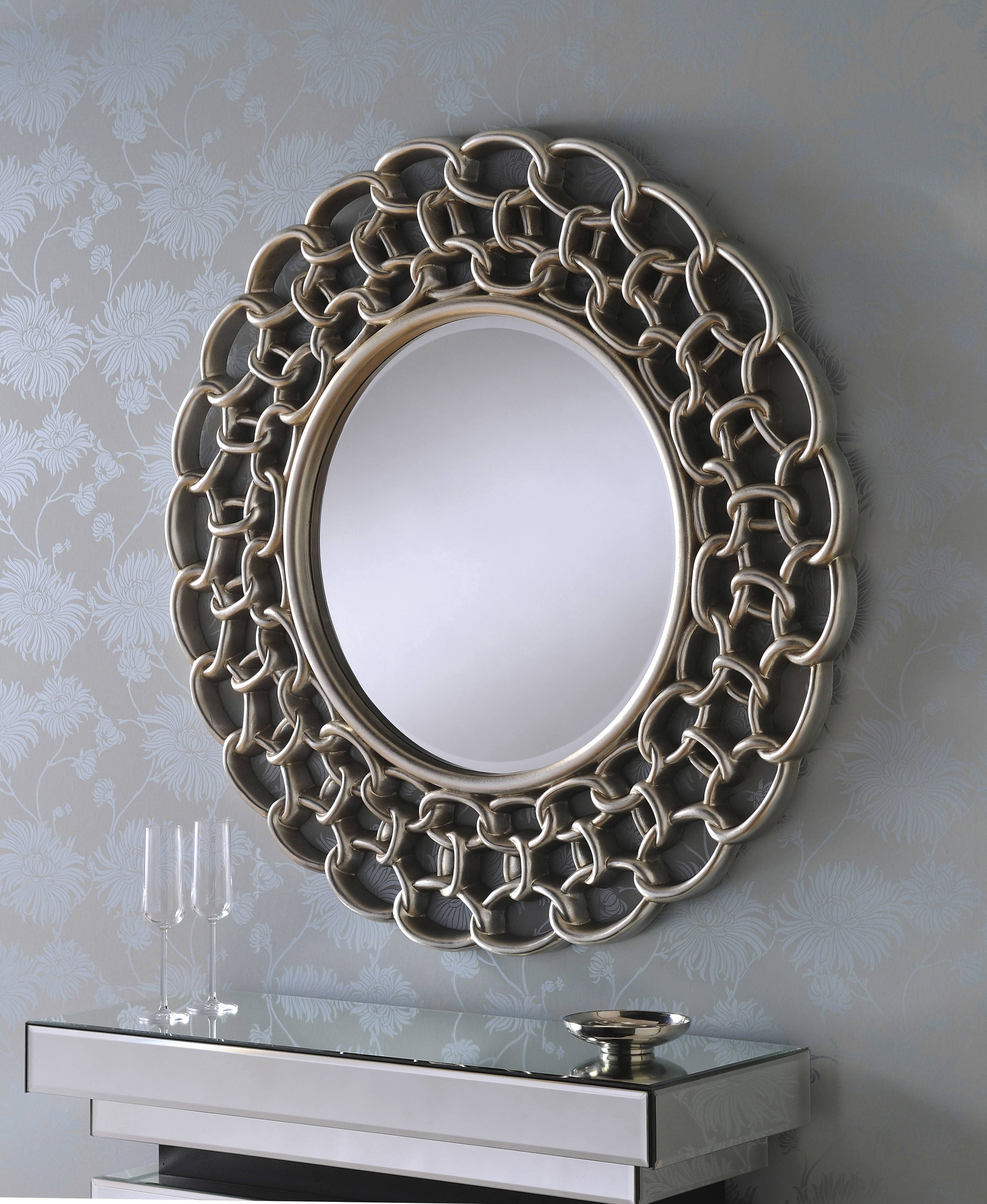 Famous Large Silver Framed Wall Mirror For Verona Large Round Silver Linked Chain Framed Wall Mirror (View 5 of 20)