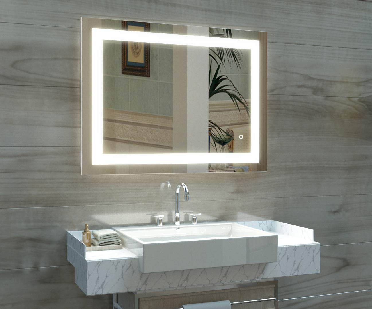 Famous Lighted Bathroom Wall Mirrors Regarding Hauschen 36 X 28 Inch Led Lighted Bathroom Wall Mounted Mirror With 5500k High Lumen + Cri 90 Cold White Lights And Anti Fog And Dimmable Memory Touch (View 16 of 20)