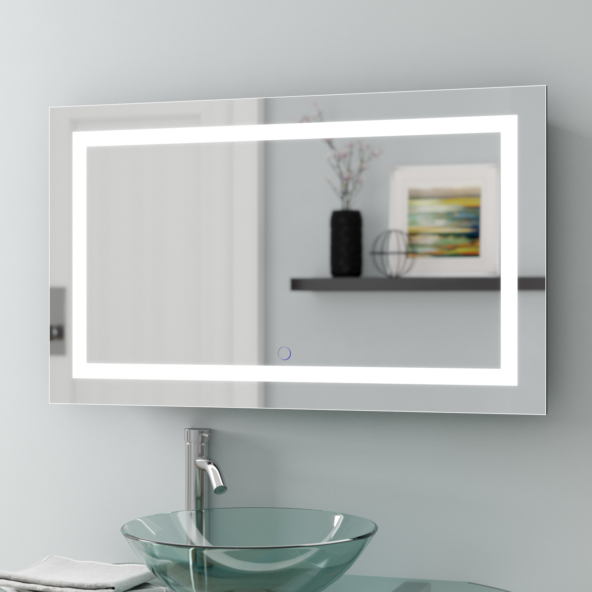 Famous Lighted Bathroom Wall Mirrors Regarding Tidwell Led Coastal Lighted Wall Mirror (View 4 of 20)