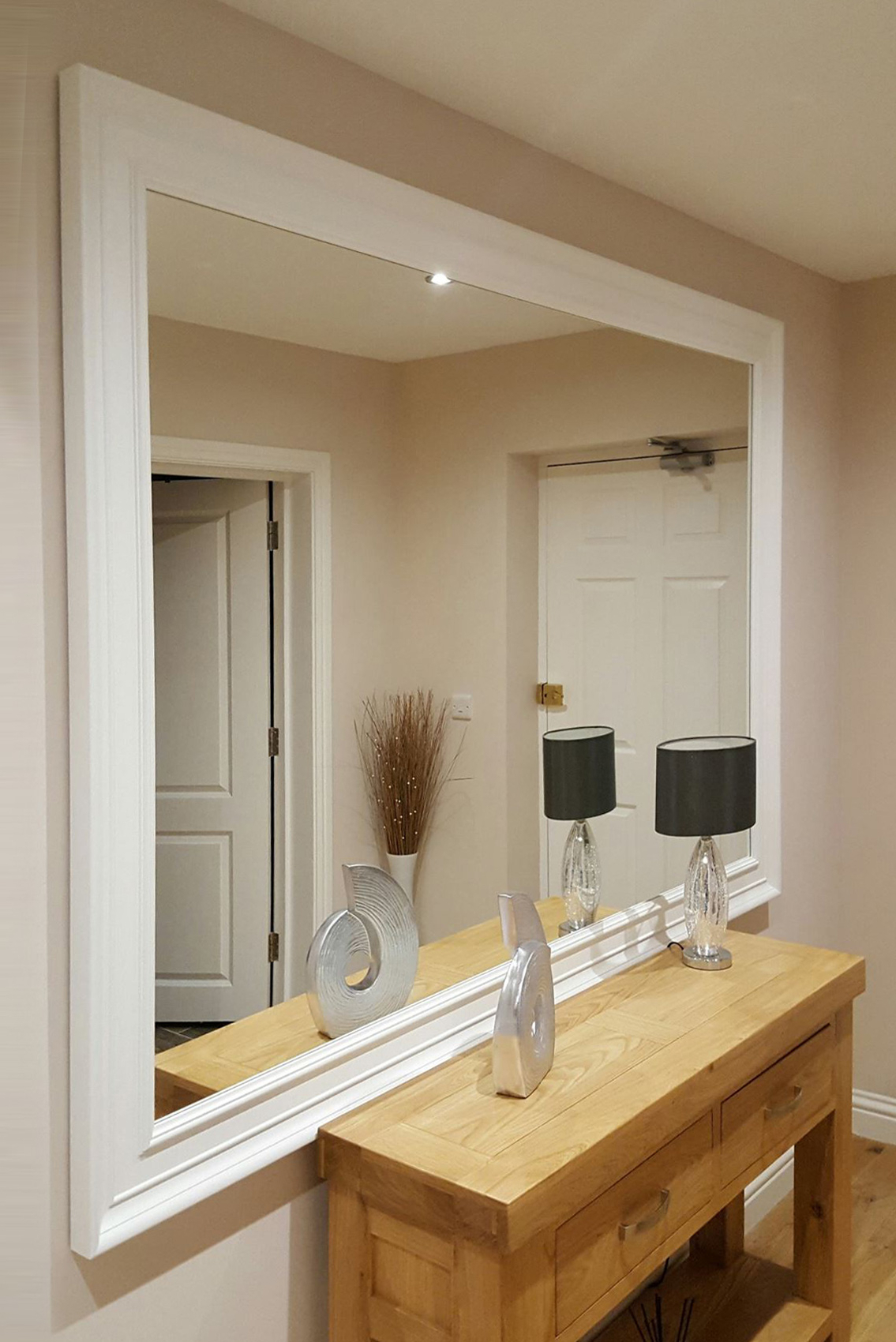 Famous Long White Wall Mirrors Pertaining To Details About Extra Large White Modern Leaner Wall Mirror New 6Ft 9 X 4Ft 9 206Cm X 145Cm (View 4 of 20)