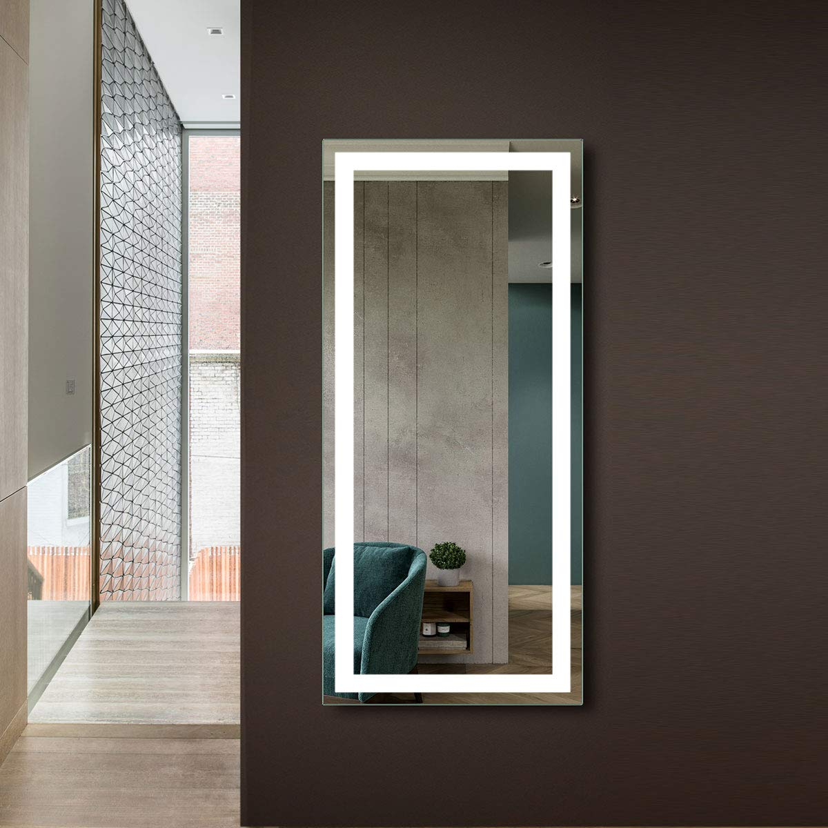 Famous Makeup Wall Mirrors With Dp Home Makeup Wall Mounted Mirrors, Led Backlit Frameless Wall Mirror,  Hotelbathroom Vanity Mirror With Infrared Sensor, 60 X 28 In (E Ck010 Cg) (View 6 of 20)