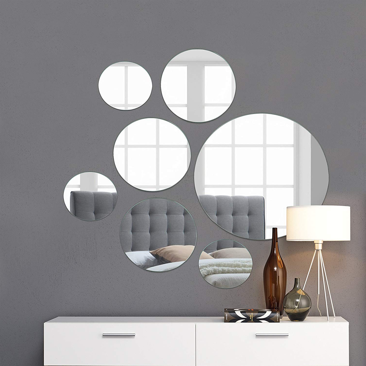 "Famous Mirrored Wall Mirrors With Light In The Dark Medium Round Mirror Wall Mounted Assorted Sizes (1X10"",  3X7"", 3X4"") – Set Of 7 Round Glass Mirrors Wall Decoration For Living Room, (View 6 of 20)"