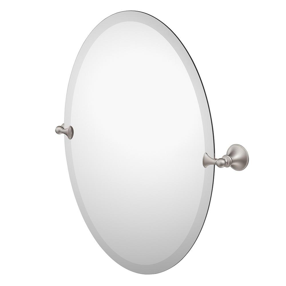 Famous Moen Dn2692bn Glenshire Bathroom Oval Tilting Mirror, Brushed Nickel Intended For Brushed Nickel Wall Mirrors For Bathroom (View 9 of 20)