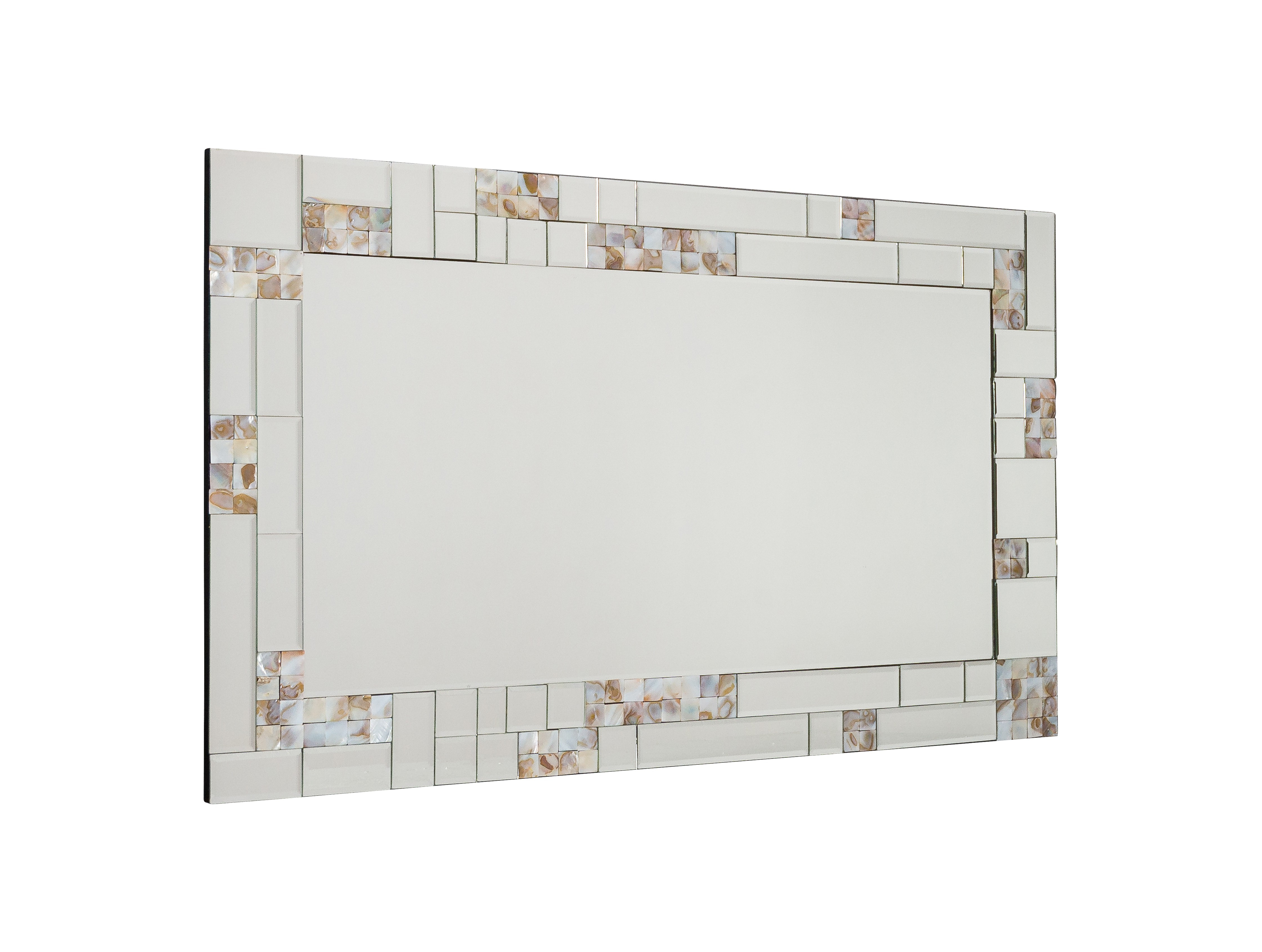 Famous Mother Of Pearl Wall Mirrors Intended For Perla Rectangular Wall Mirror With Mother Of Pearl Frame (View 18 of 20)