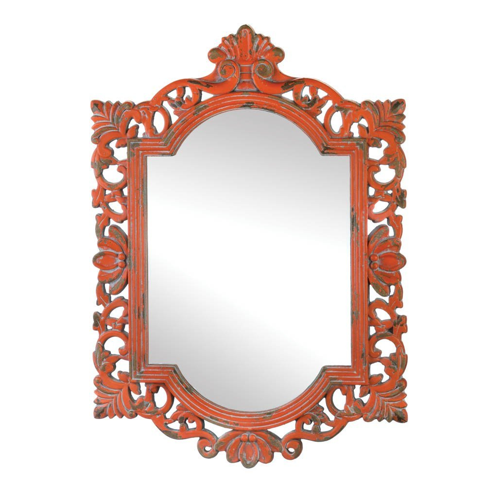 Famous Orange Wall Mirrors For Verdugo Gift 57072155 Weathered Finished Wall Mirror, Orange (View 5 of 20)