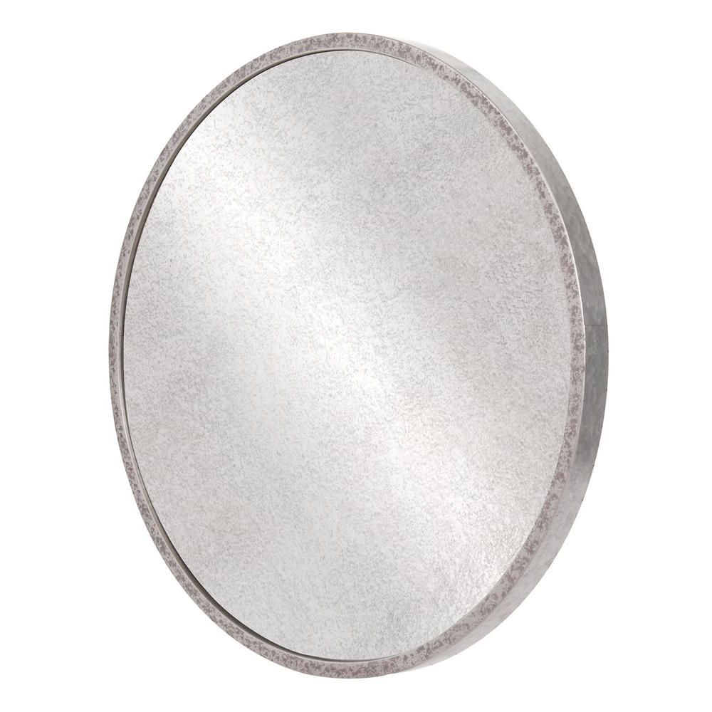 Famous Pinnacle Galvanized Round Galvanized Silver Metal Antiqued Wall Inside Round Galvanized Metallic Wall Mirrors (View 12 of 20)