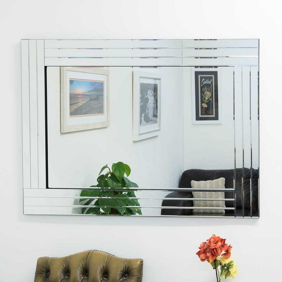 Famous Reba Accent Wall Mirrors Throughout Reba Triple Edge Bevelled All Glass Large Mirror 120 X 80 Cm (View 8 of 20)