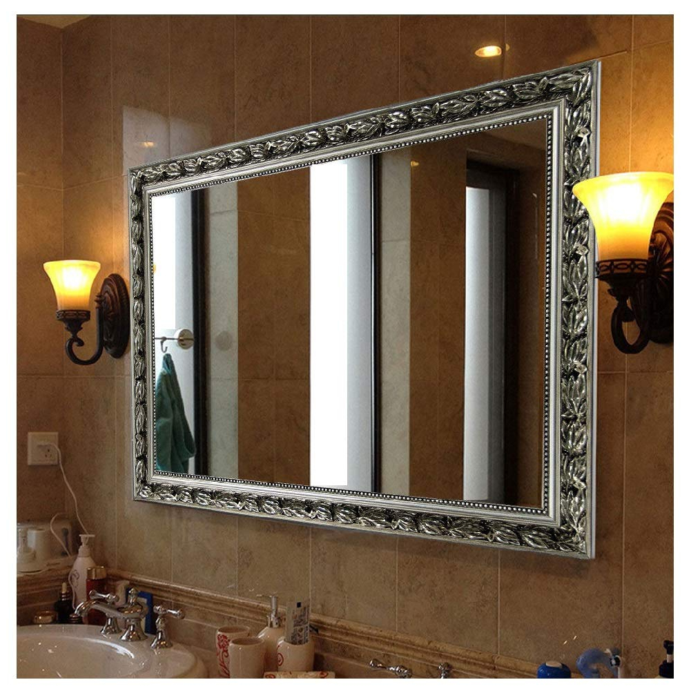 """Famous Rectangular Wall Mounted Mirror (38""""x26"""", Silver) Pertaining To Long Silver Wall Mirrors (View 10 of 20)"""