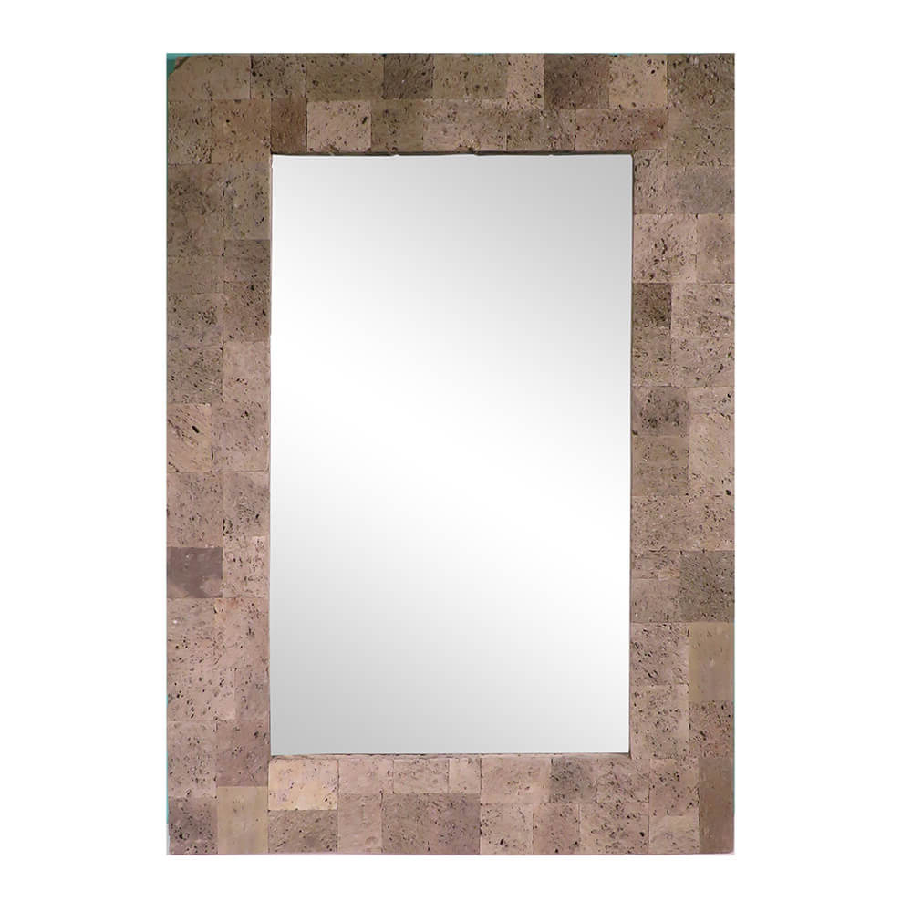 Famous Red Framed Wall Mirrors Intended For Rectangular Stone Mosaic Framed Wall Mirror (View 5 of 20)