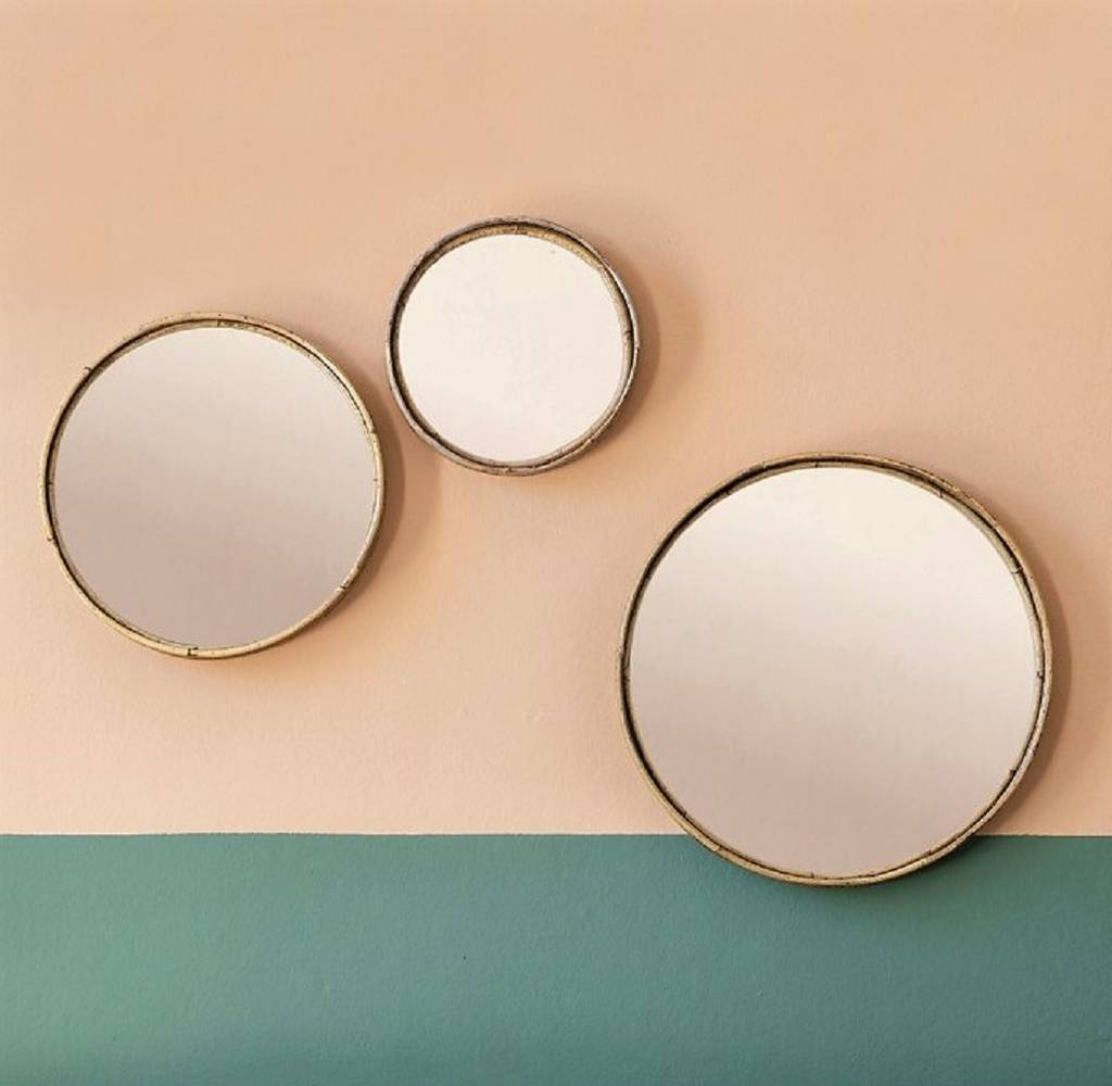 Famous Set Of Wall Mirrors Throughout Set Of Three Bamboo Wall Mirrors (View 2 of 20)