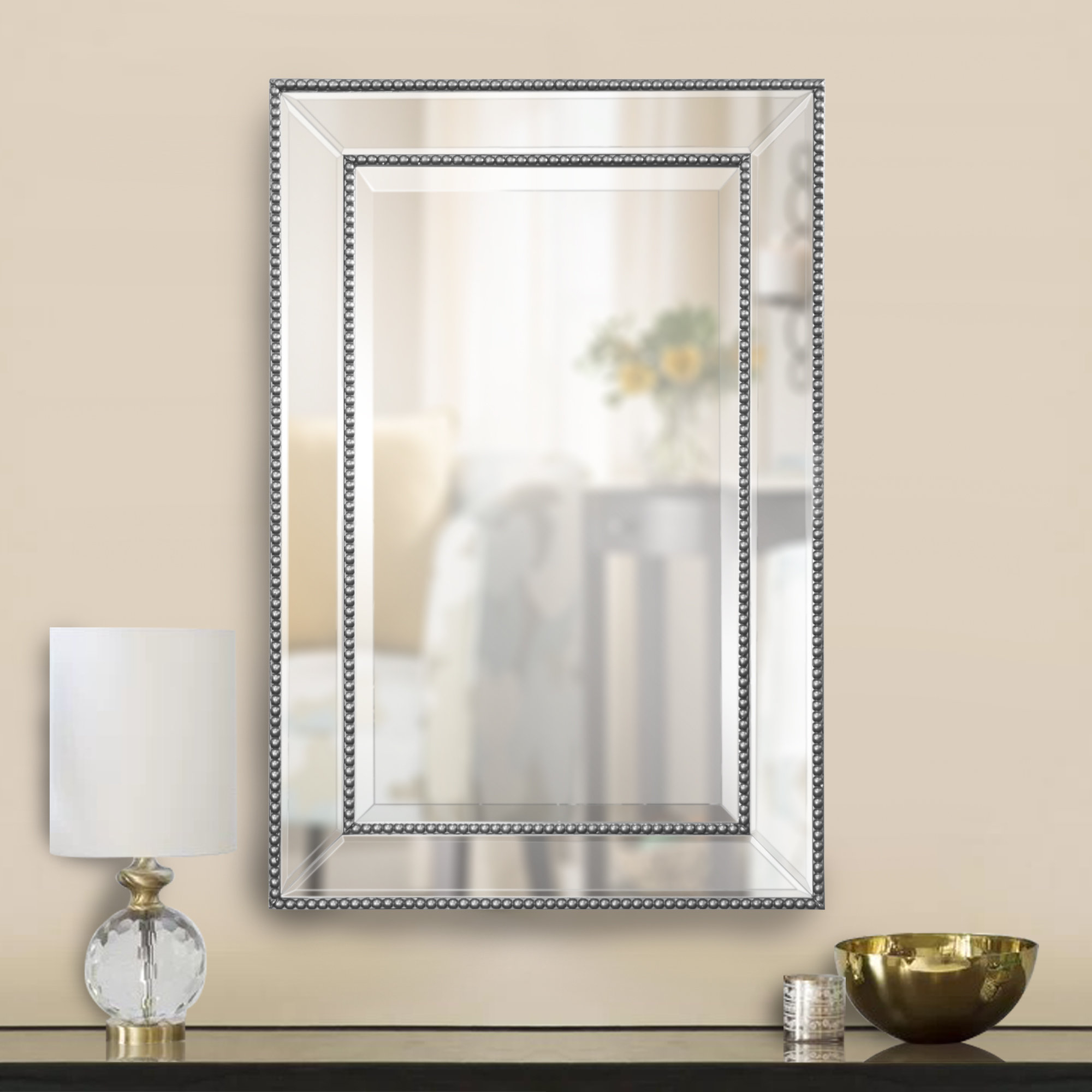 Famous Silver Beaded Wall Mirrors With Clarine Beaded Wall Mirror (View 4 of 20)