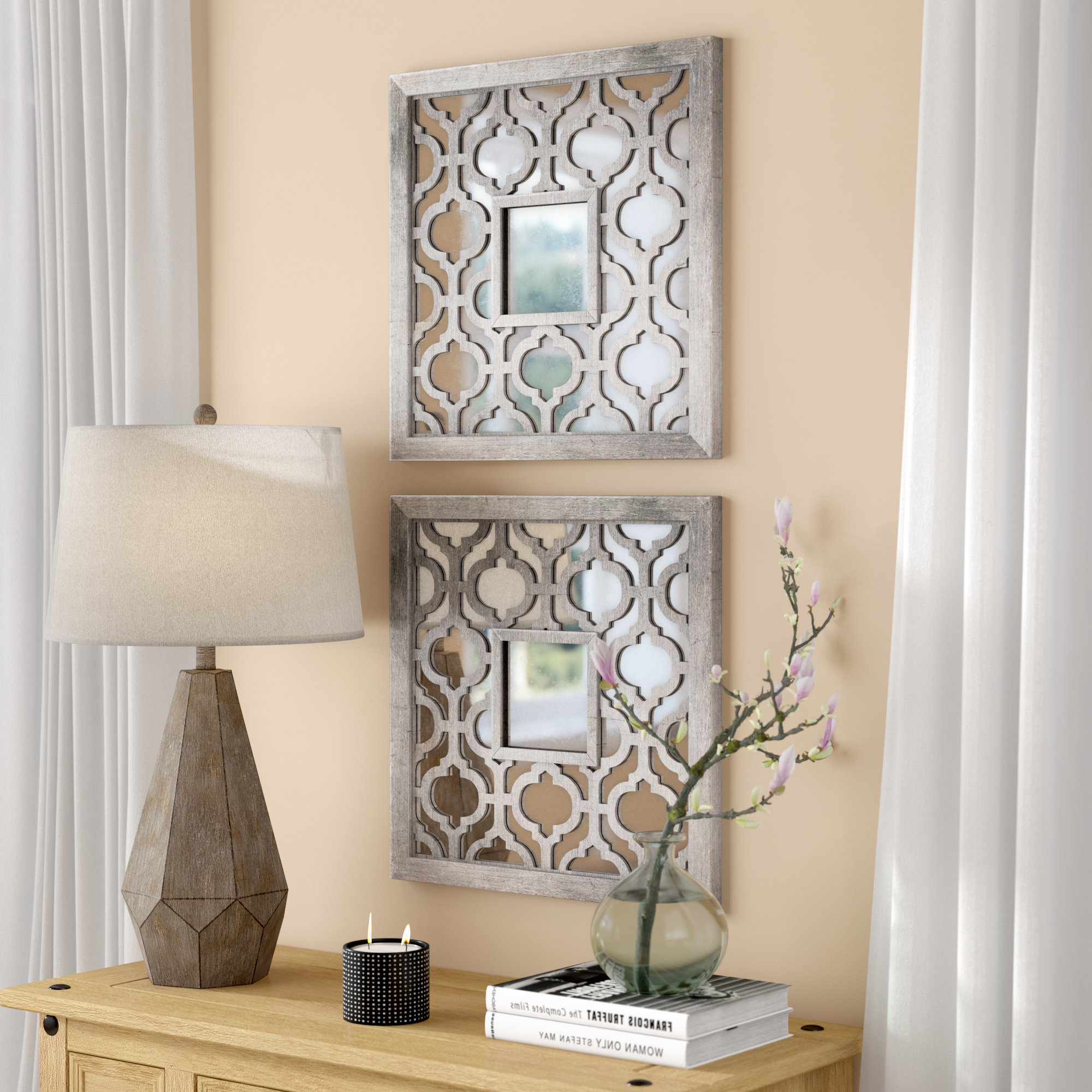 Famous Silver Leaf Wall Mirrors Inside Uptal Square Silver Leaf Wall Mirror (View 5 of 20)