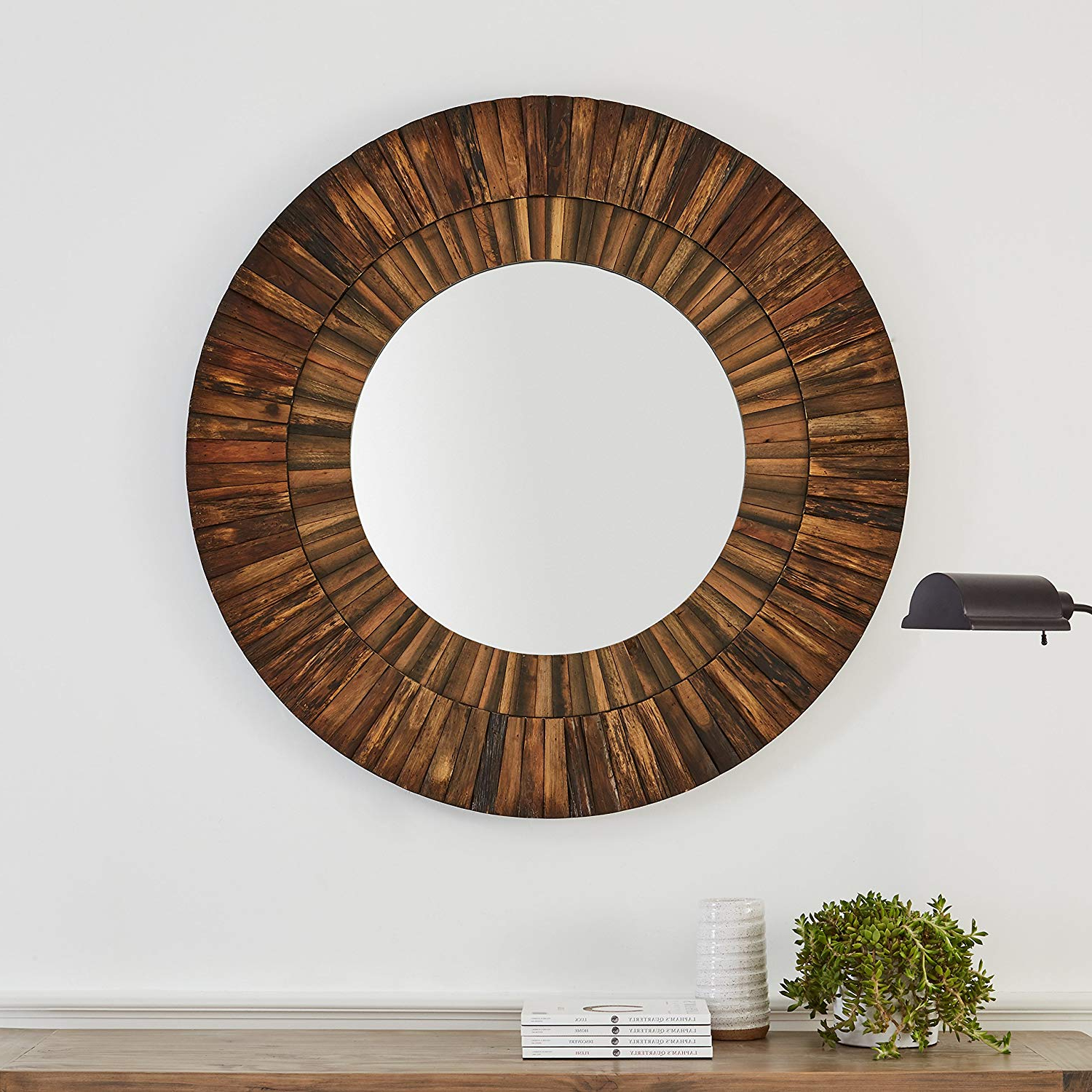 Famous Stone & Beam Round Layered Rustic Wood Hanging Wall Mirror Decor, 42 Inch  Height, Dark Wood Finish With Regard To Dark Wood Wall Mirrors (View 9 of 20)
