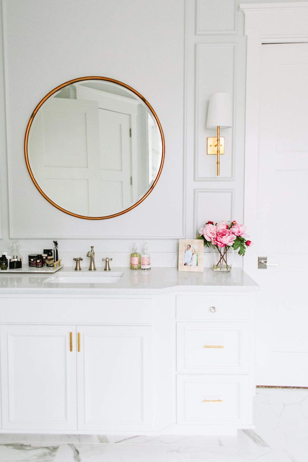Famous Stunning White Bathroom Vanity With Gold Accents And Gold Circular With Regard To Owens Accent Mirrors (View 4 of 20)
