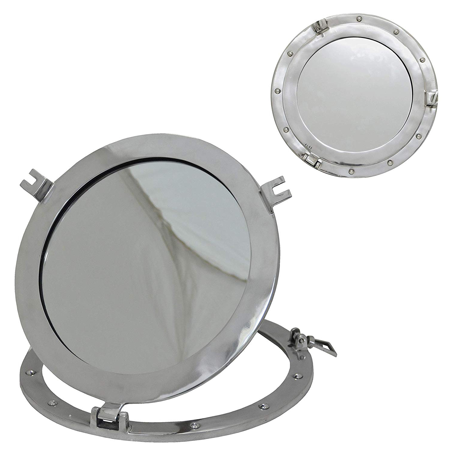 Famous The New Antique Store – Aluminum Porthole Mirror 15 Inch Dia – Marine Nautical Wall Décor With Regard To Nautical Wall Mirrors (View 20 of 20)