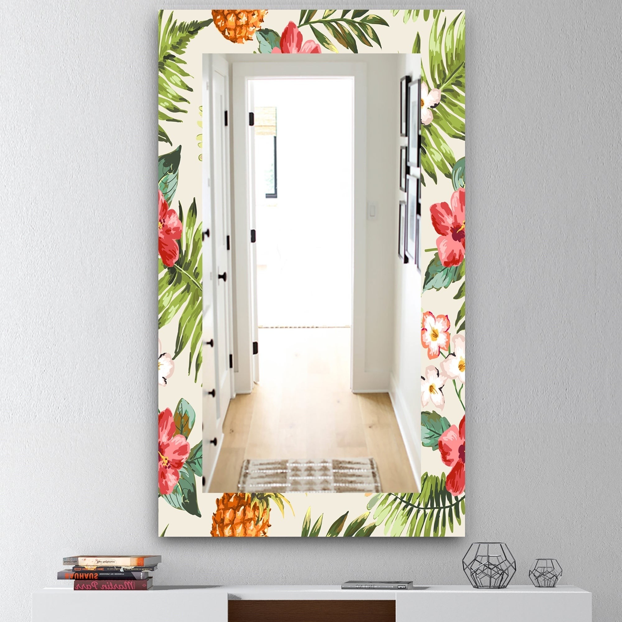 Famous Tropical Wall Mirrors For Designart 'tropical Mood Pineapple 7' Bohemian And Eclectic Mirror – Frameless Wall Mirror – Green (View 9 of 20)