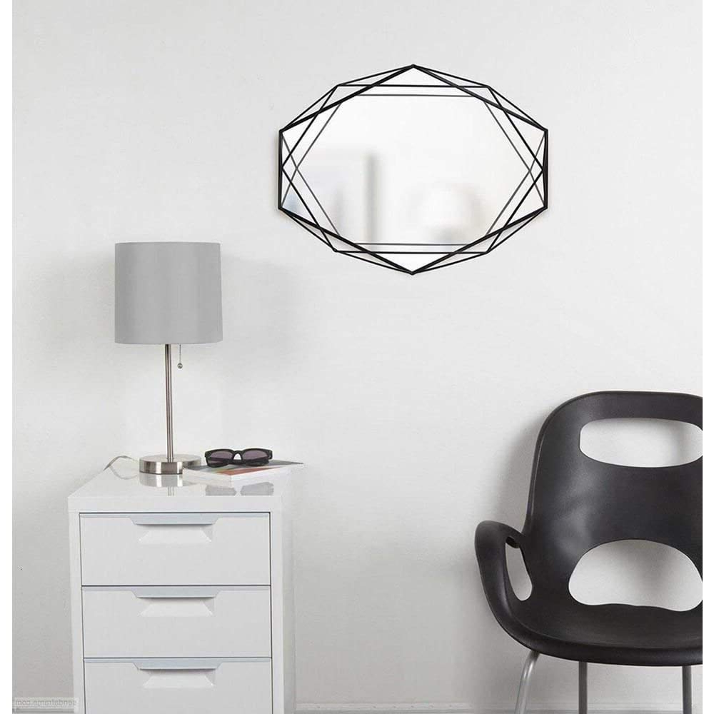 Famous Umbra Modern Geometric Shaped Oval Prisma Wall Mirror, Black With Geometric Wall Mirrors (View 20 of 20)