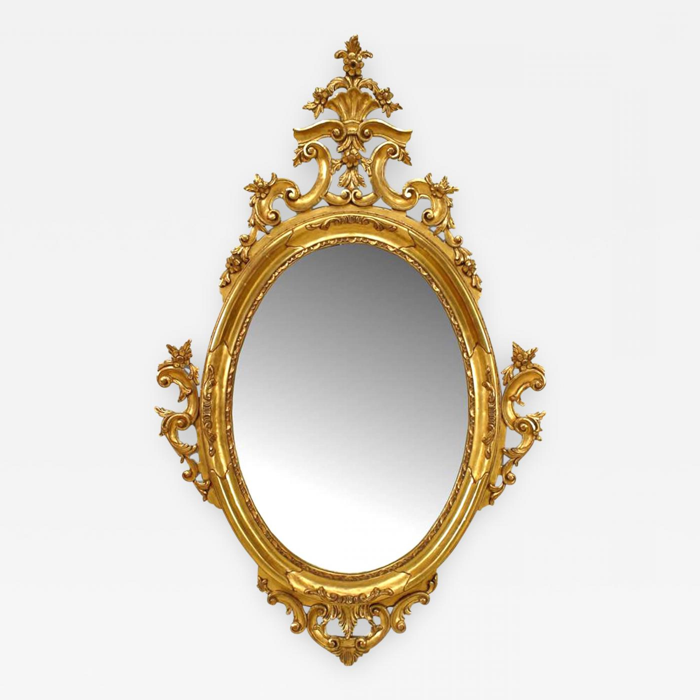 Famous Victorian Wall Mirrors Inside French Victorian Style Gilt Oval Wall Mirror (Gallery 10 of 20)