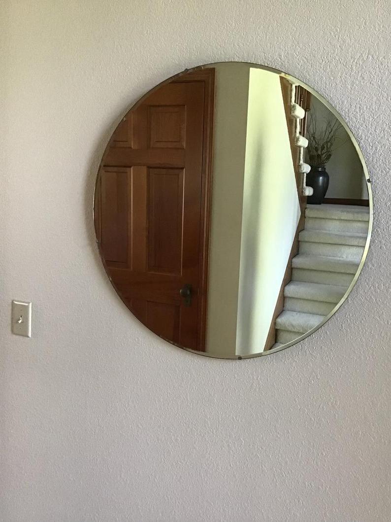 Famous Vintage Round Beveled Wall Mirror, 30 Inch Mirror, Art Deco Mirror, Mid Century Modern Mirror, Frameless Mirror For Round Beveled Wall Mirrors (View 18 of 20)