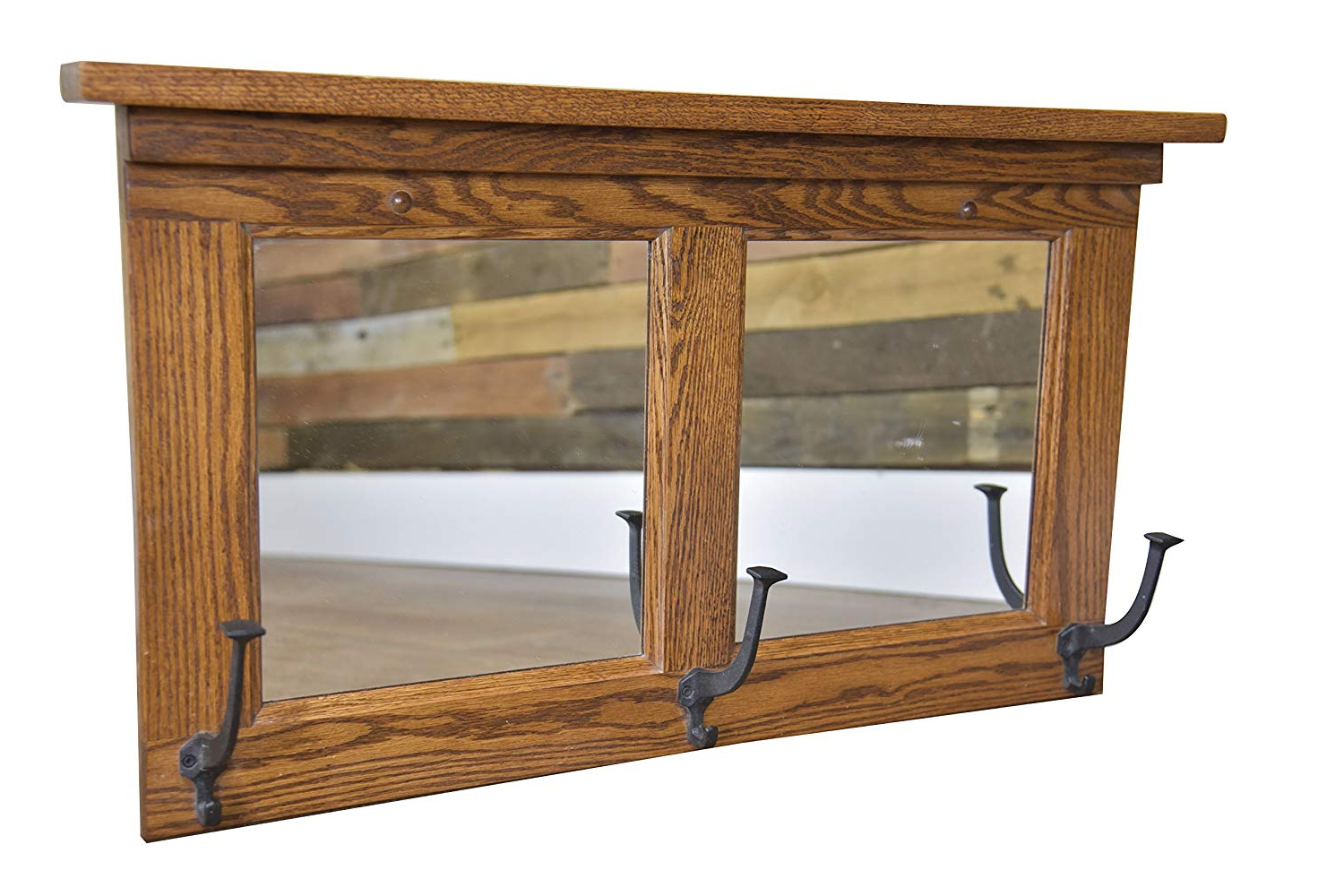 Famous Wall Mirrors With Hooks And Shelf In Wood Mirror Coat Rack Hanger Wall Mounted, Mission, 2 Panel, 3 Hook, Oak  Wood, Michaels Stain (Gallery 3 of 20)