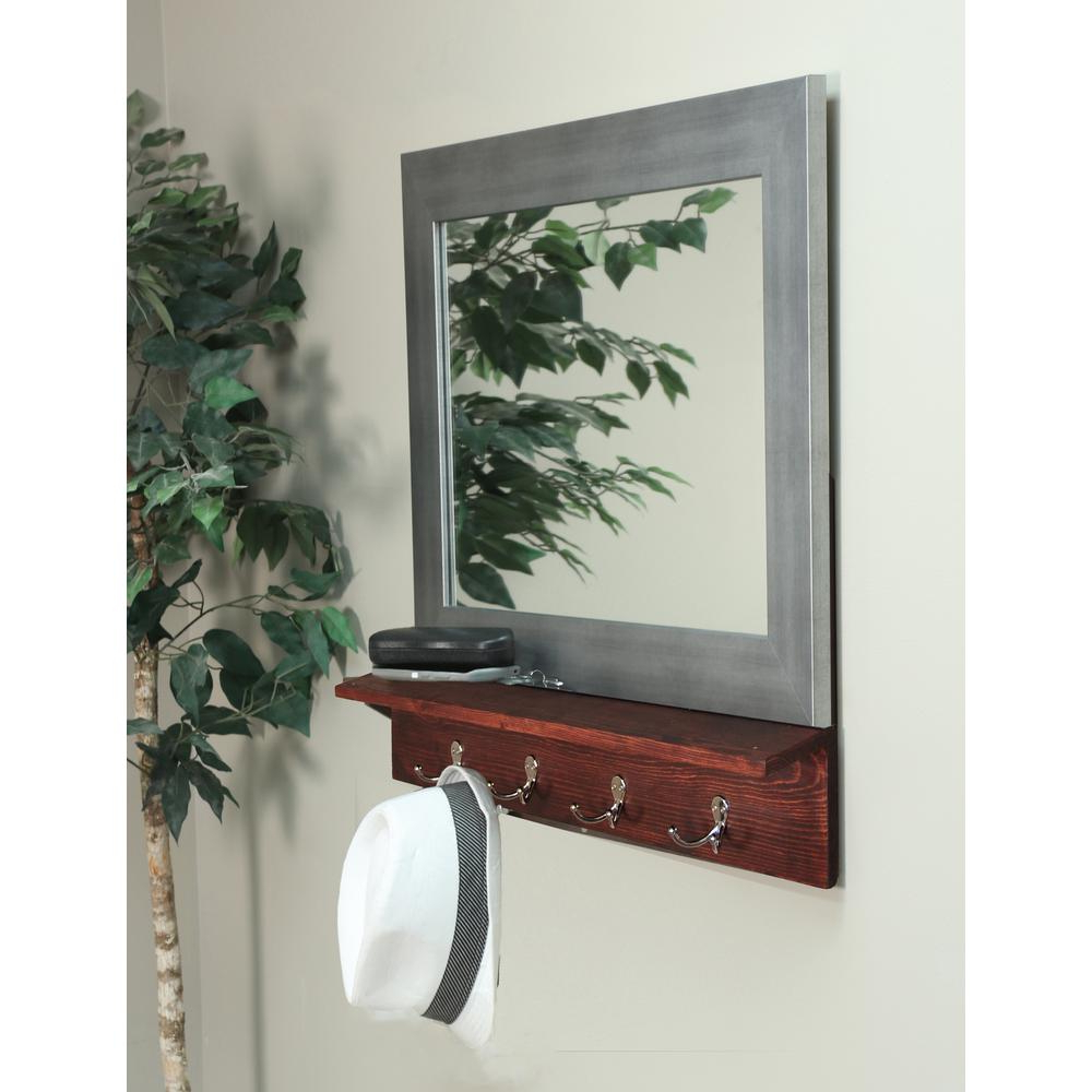 Famous Wall Mirrors With Shelf And Hooks With Matte Black Small Mirror With Dark Brown Shelf And 4 Silver Peg Hooks (View 15 of 20)