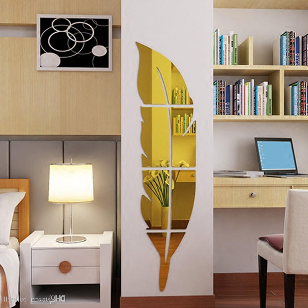 Fashionable 3 Colors Feather Dressing Mirror Diy Wall Stickers Acrylic Stickers Dressing Mirror Decor Living Room Bedroom Bathroom Decor In Acrylic Wall Mirrors (View 12 of 20)