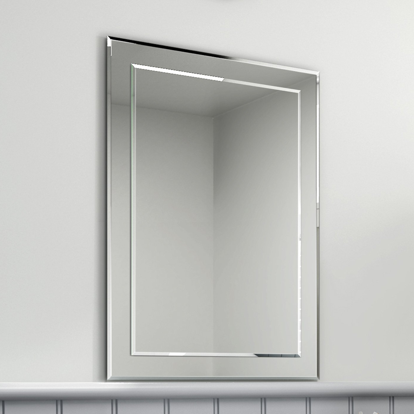 Fashionable 500 X 700 Mm Rectangular Bevelled Designer Bathroom Wall Mirror Bathroom Mirrors Mc148 With Regard To Bevelled Wall Mirrors (View 5 of 20)