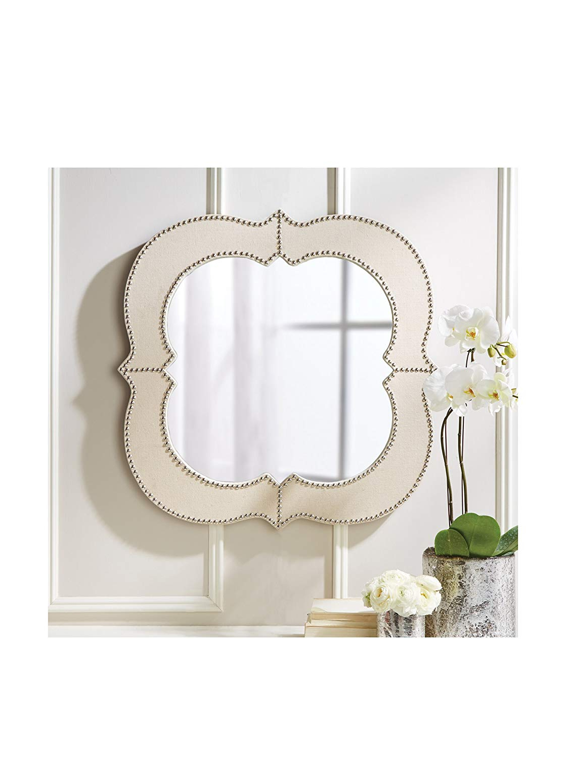 Fashionable Amazon: Belle Maison Curved Studded Wall Mirror: Kitchen Regarding Studded Wall Mirrors (View 4 of 20)