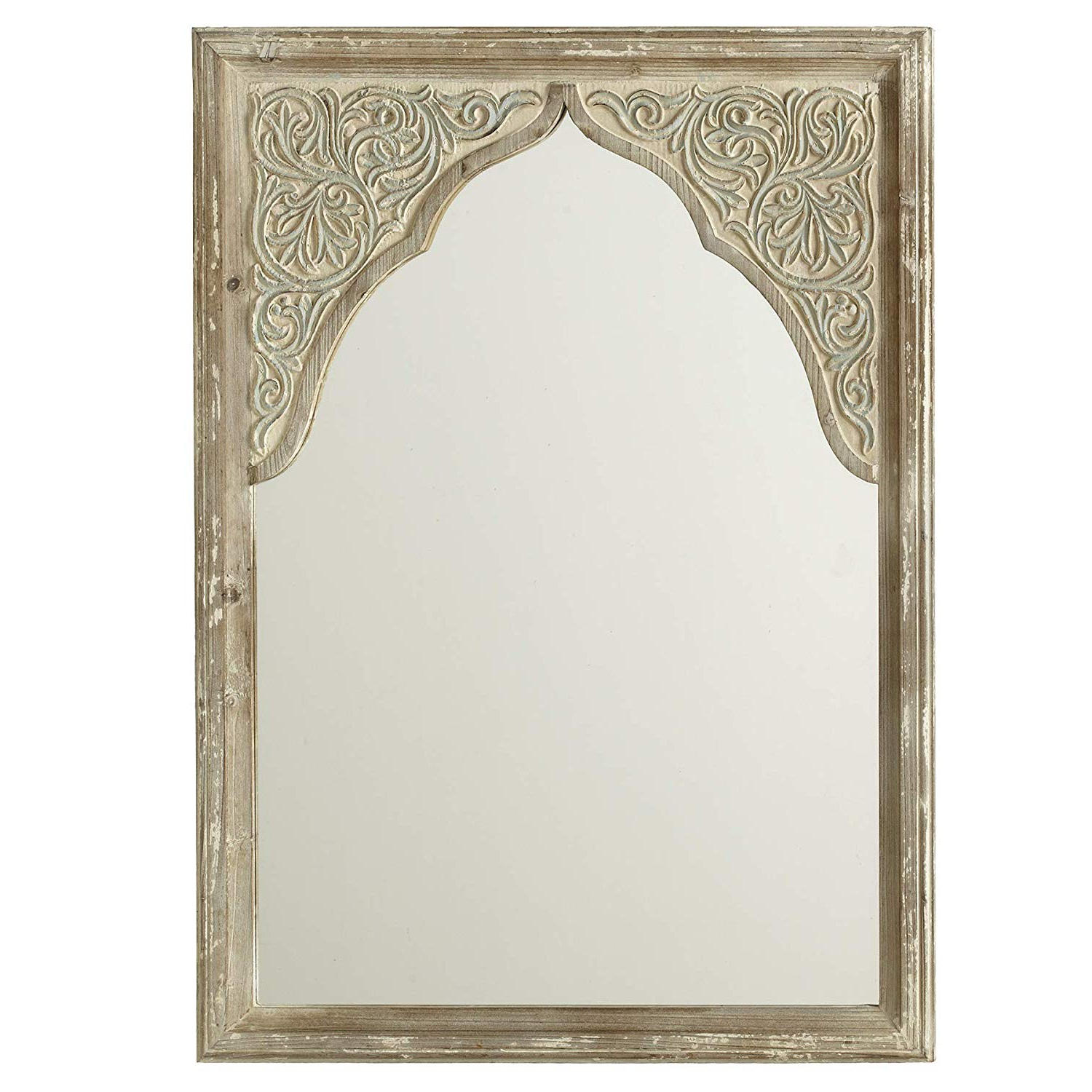 Fashionable Amazon: Cbk Wood Distressed Ivory Wall Mirror With In Ivory Wall Mirrors (View 4 of 20)