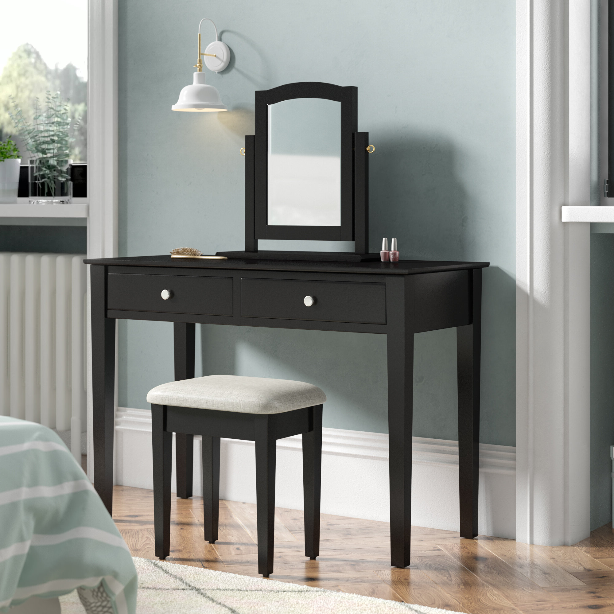 Fashionable Andre Dressing Table Set With Mirror Within Dandre Wall Mirrors (View 11 of 20)