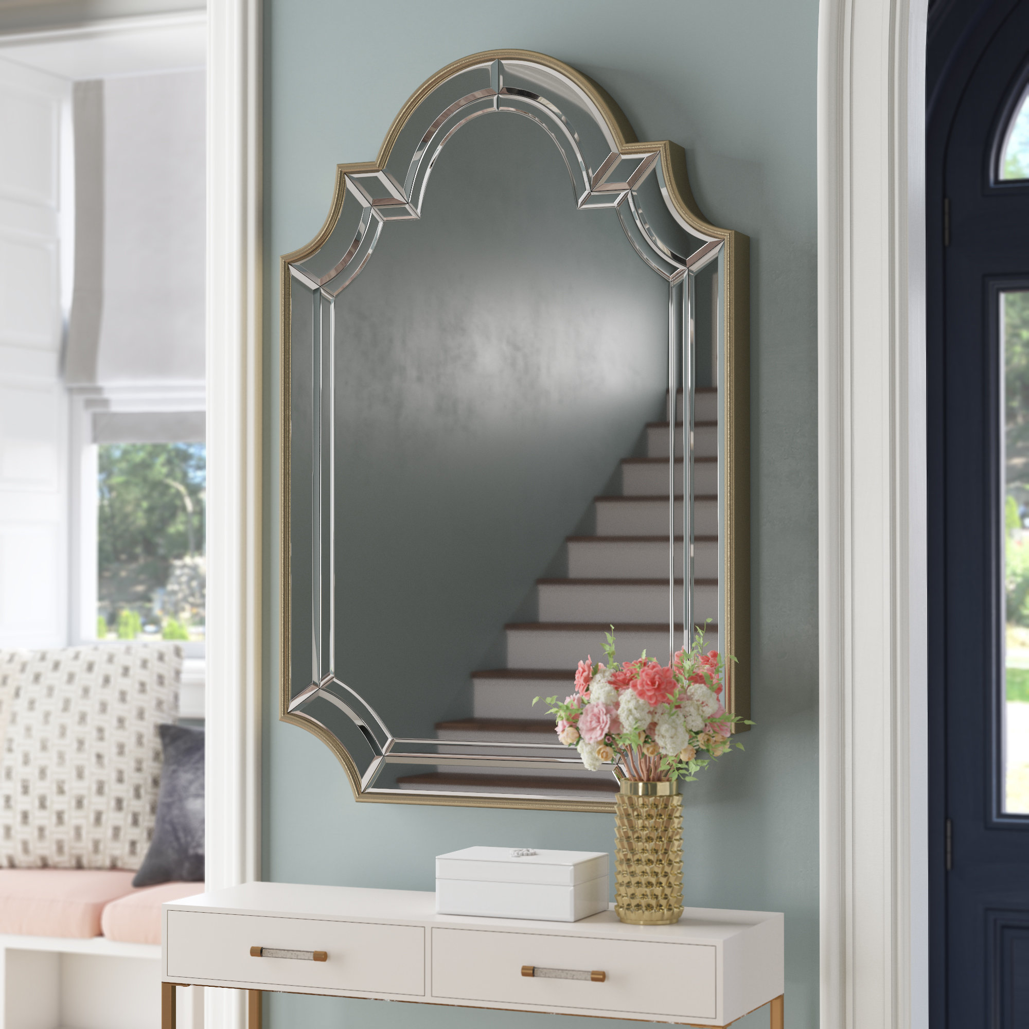 Fashionable Arch/crowned Top Champagne Wall Mirror In Ekaterina Arch/crowned Top Wall Mirrors (View 6 of 20)