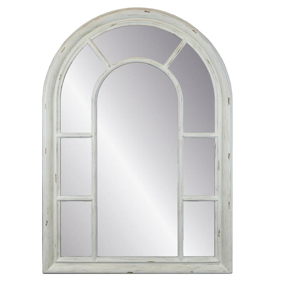 Fashionable Arch Top Vertical Wall Mirrors Pertaining To Enchante Allen + Roth 40 In L X 29 In W Arch Distressed White Framed (View 8 of 20)