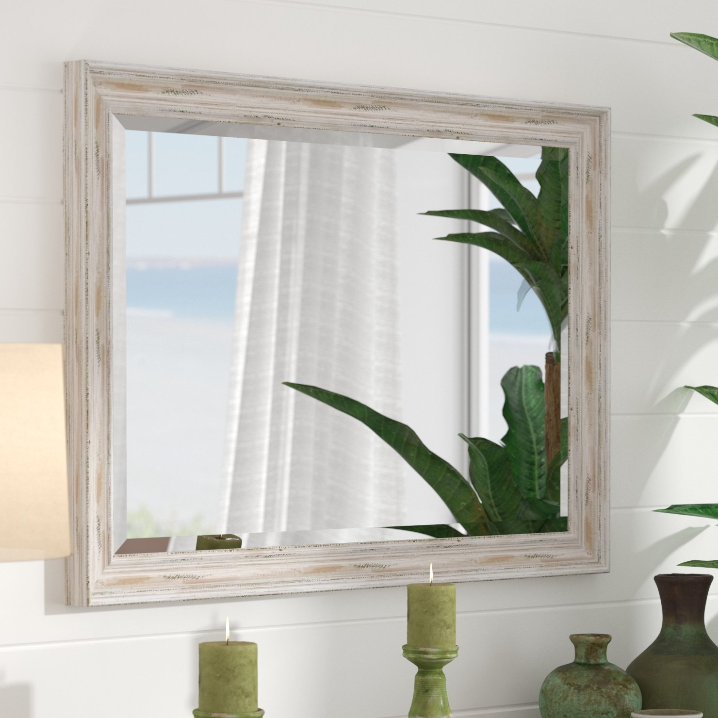 Fashionable Beachy Wall Mirrors Throughout Beachy Beveled Distressed Bathroom/vanity Mirror (View 3 of 20)