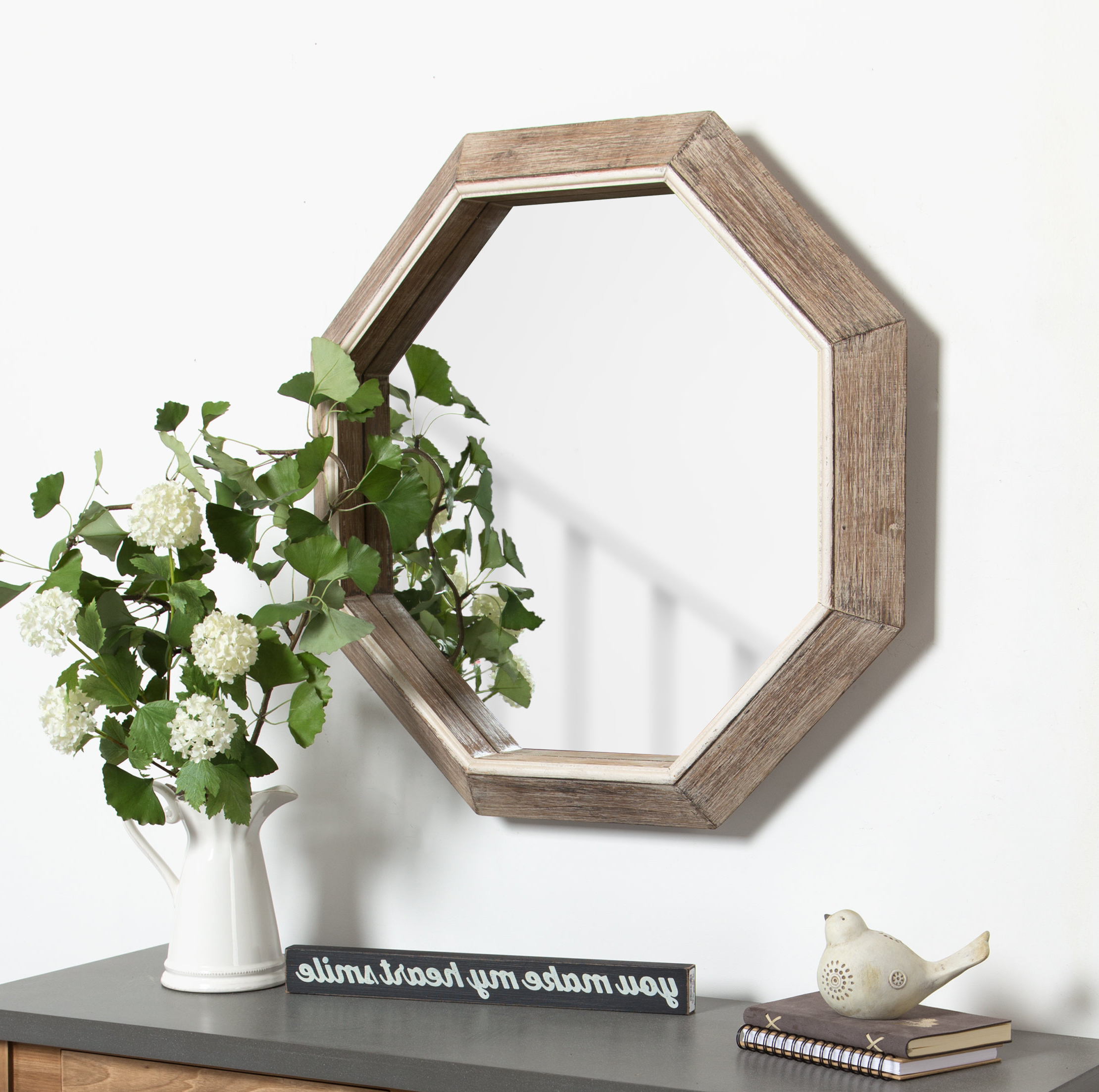 Fashionable Coldfield Large Wooden Octagon Wall Mirror For Large Wood Wall Mirrors (View 6 of 20)